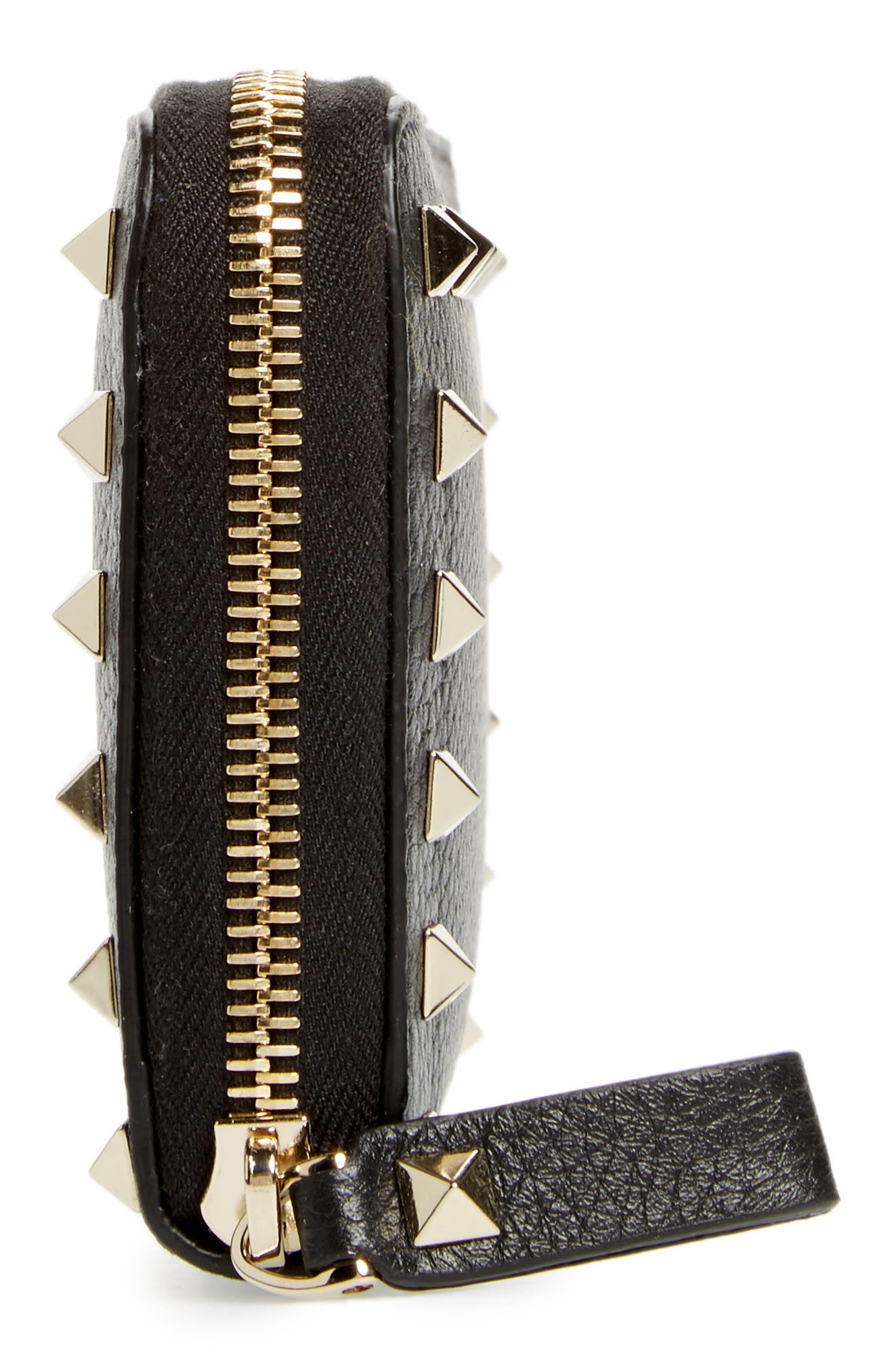 Rockstud Zip Around Leather Continental Wallet,                             Alternate thumbnail 5, color,                             Nero