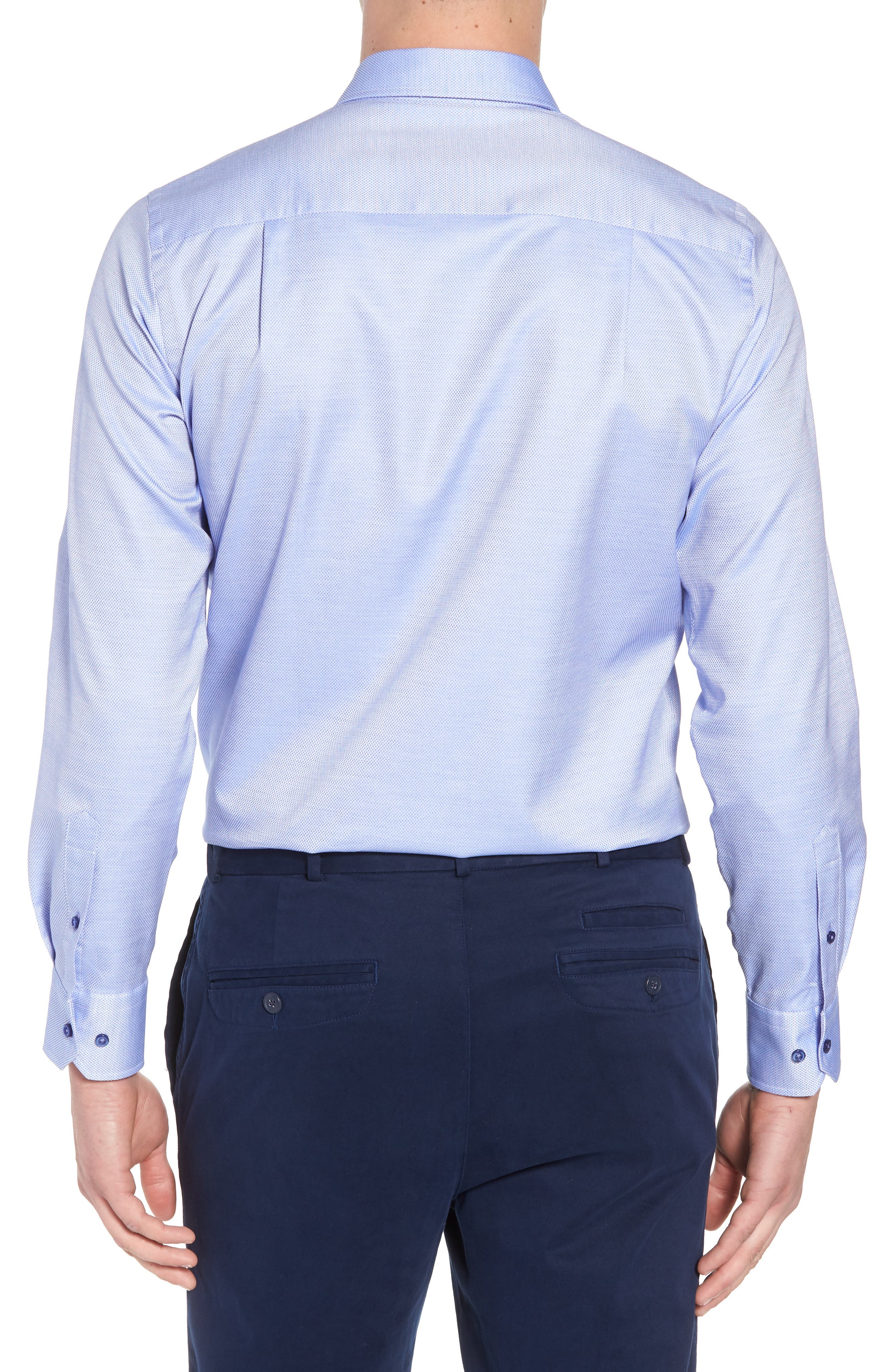 Micro Diamond Regular Fit Sport Shirt,                             Alternate thumbnail 2, color,                             Blue