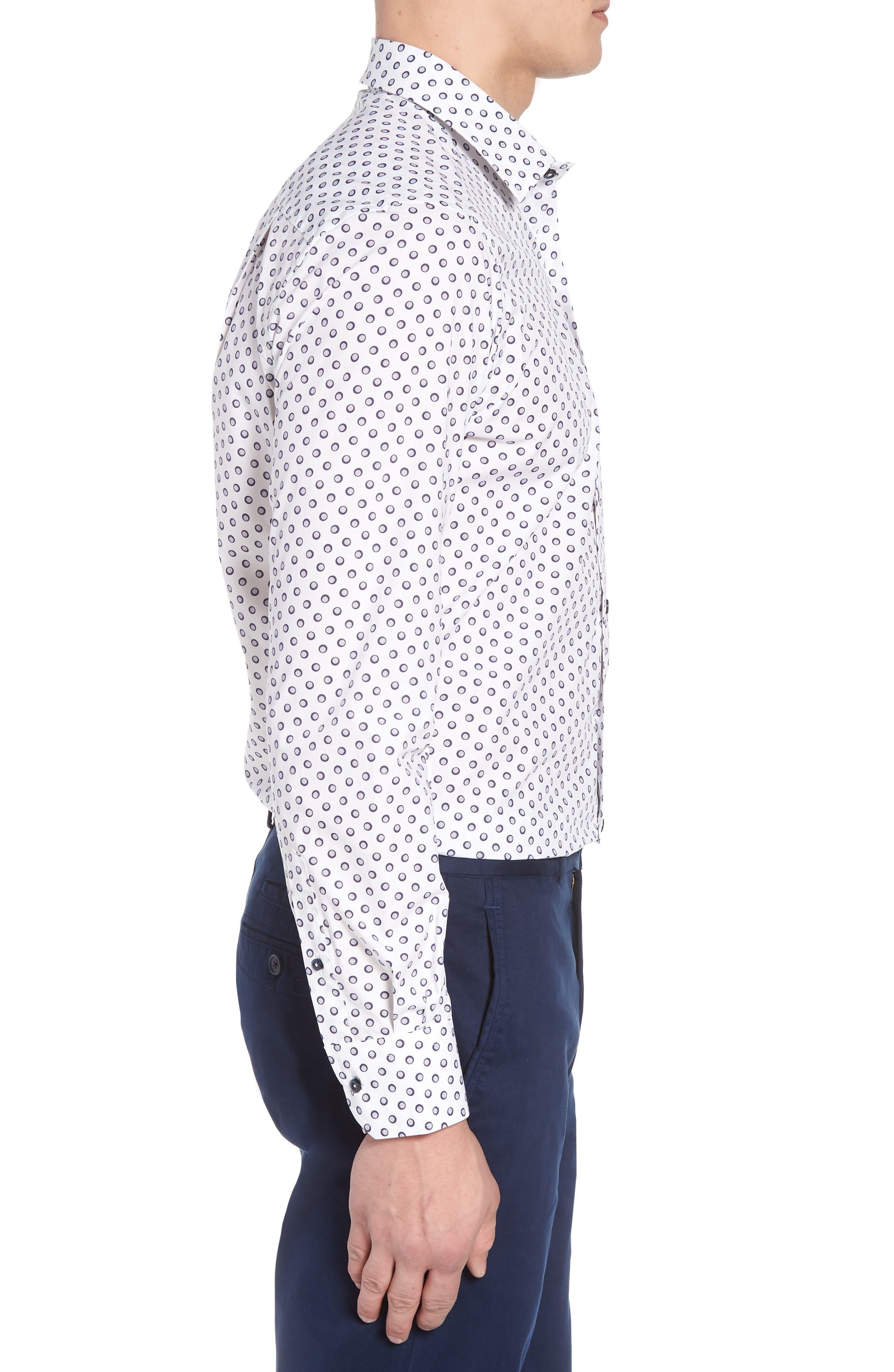 Regular Fit Dot Print Sport Shirt,                             Alternate thumbnail 3, color,                             White/ Navy