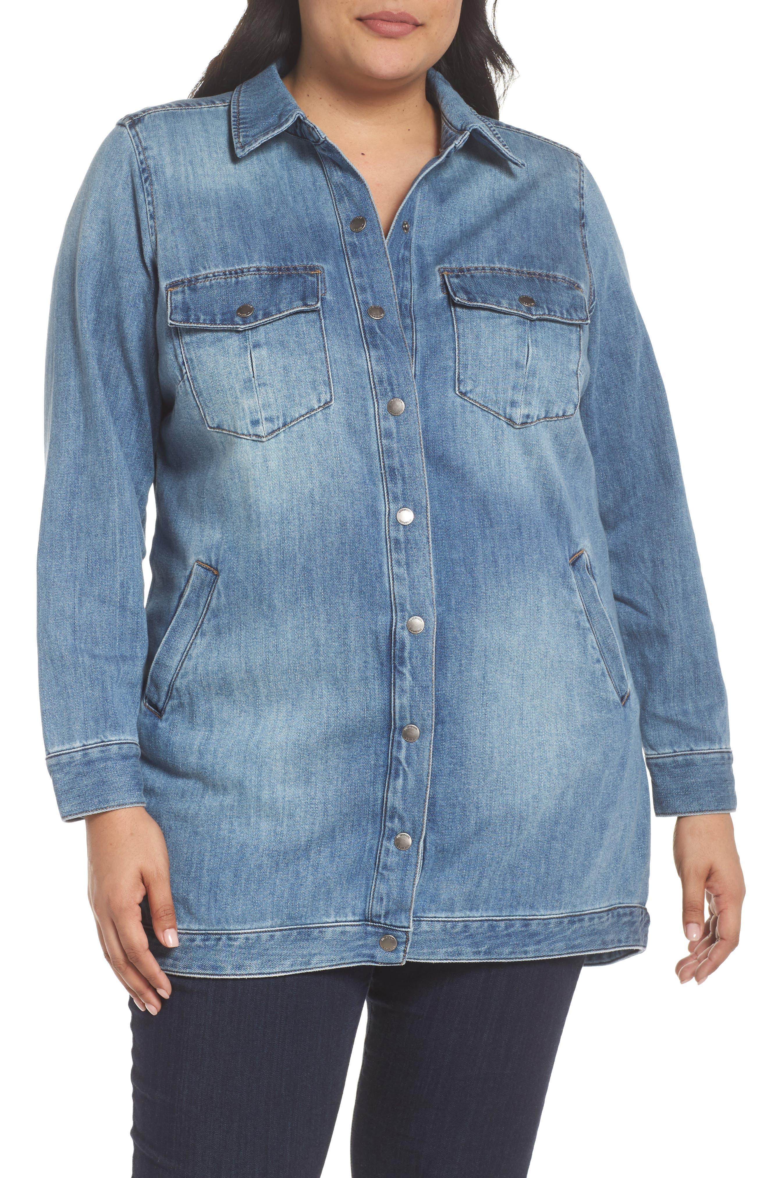 Long Denim Shirt Jacket,                             Alternate thumbnail 4, color,                             Sutter Wash