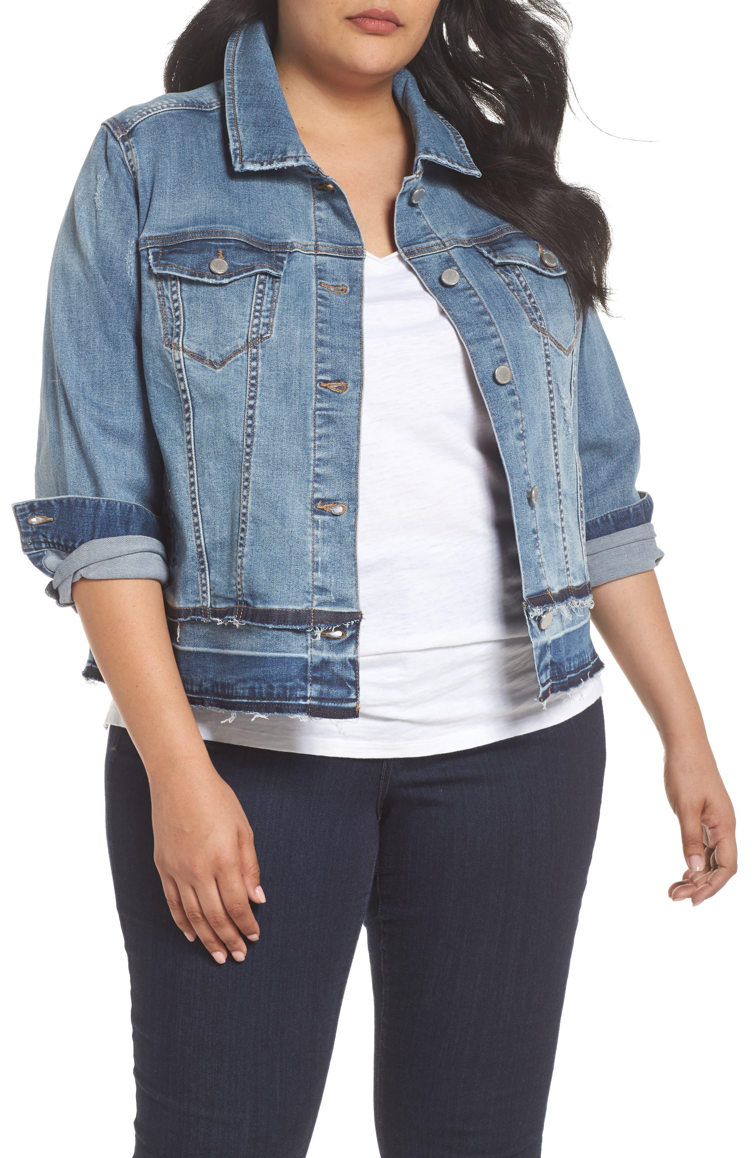 Liverpool Jeans Company Double Release Raw Hem Denim Jacket (Plus Size)