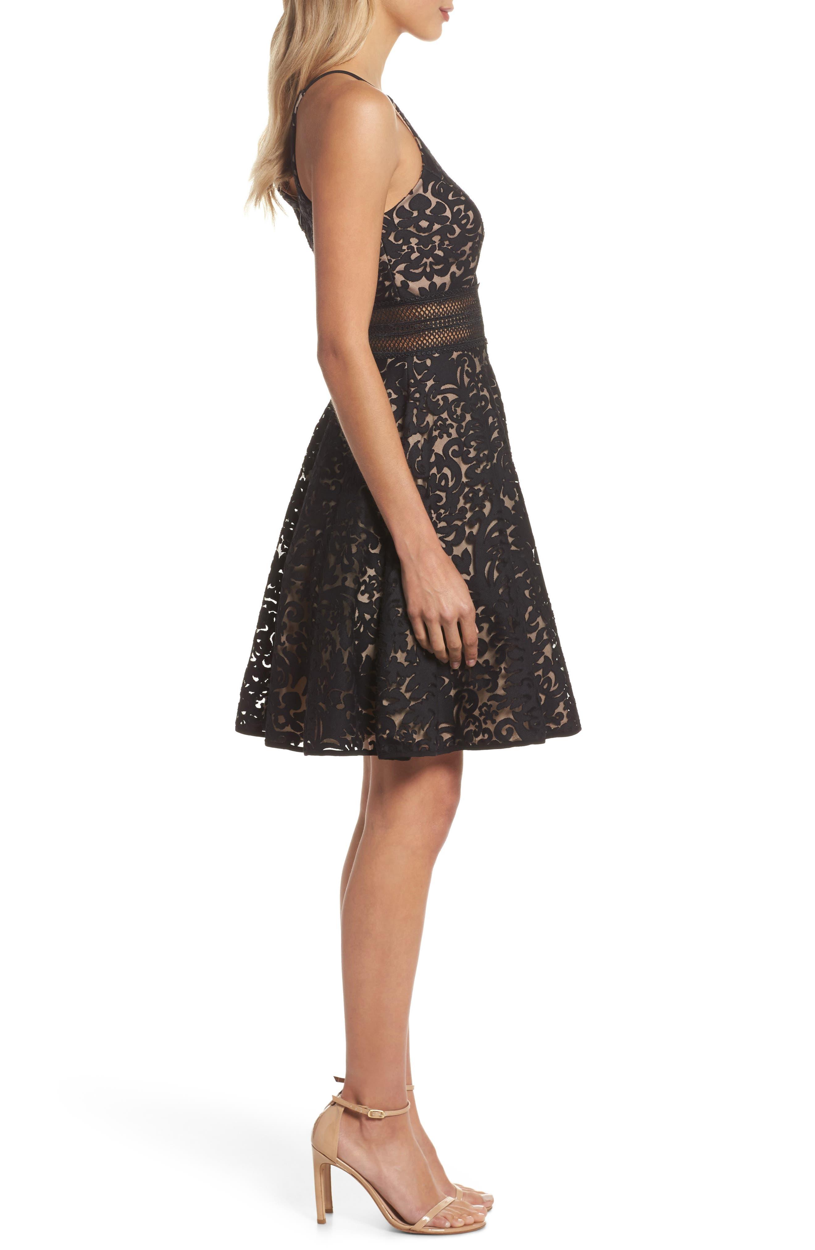 Lace Fit & Flare Dress,                             Alternate thumbnail 3, color,                             Black/ Nude