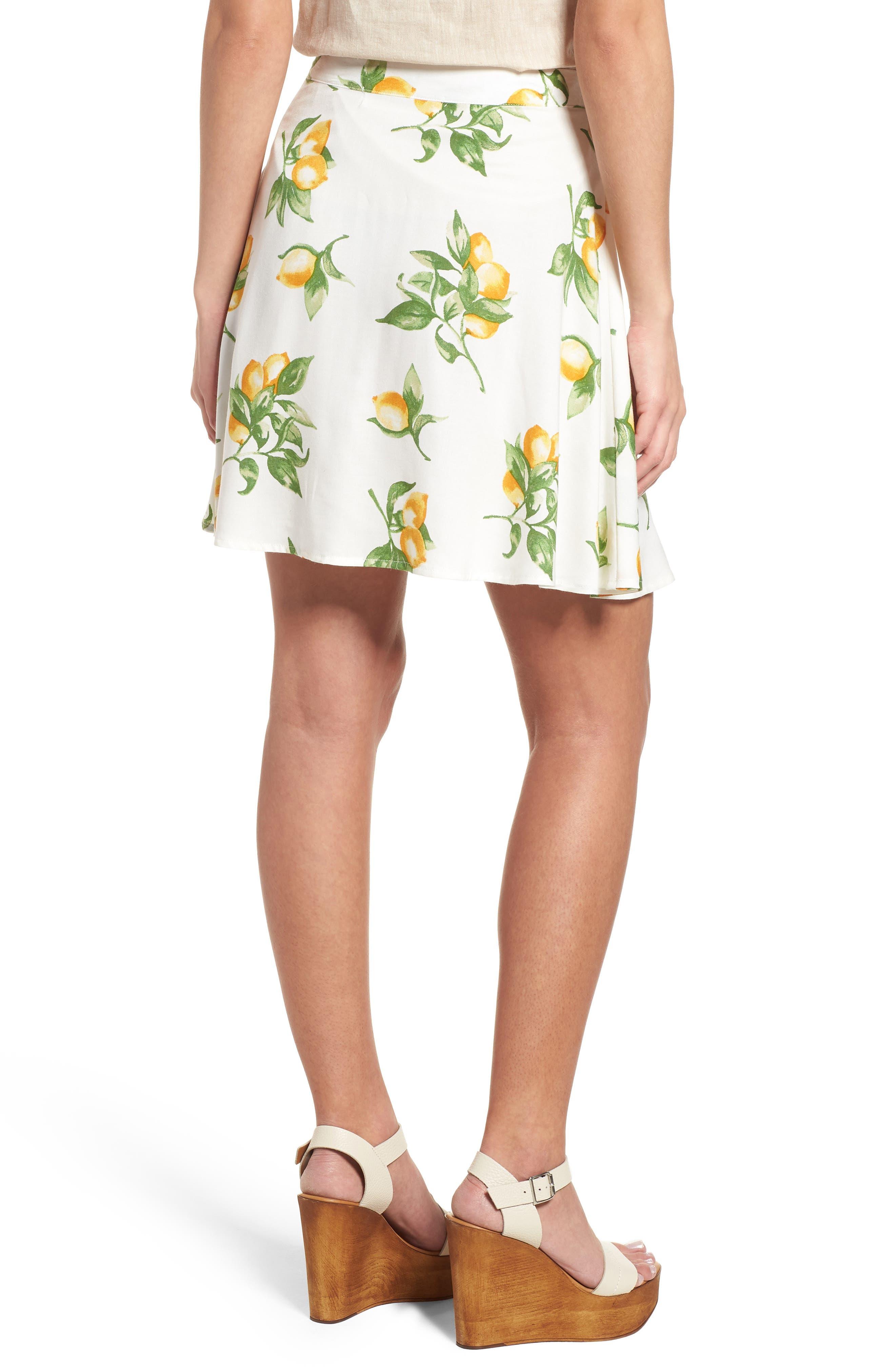 Fruit Print Side Tie Skirt,                             Alternate thumbnail 2, color,                             Ivory Lemon Print