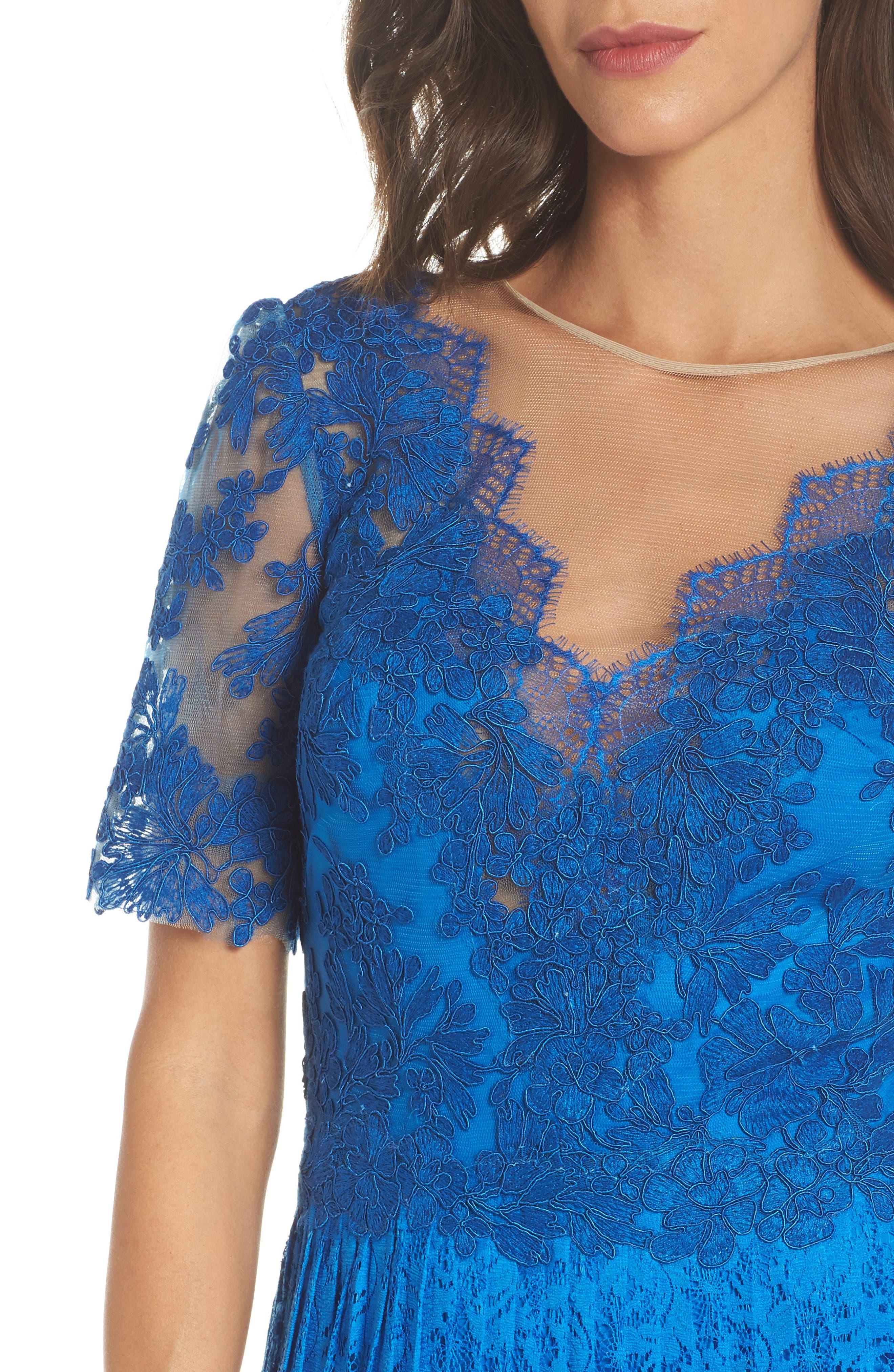 Pleat Lace Gown,                             Alternate thumbnail 4, color,                             Azure