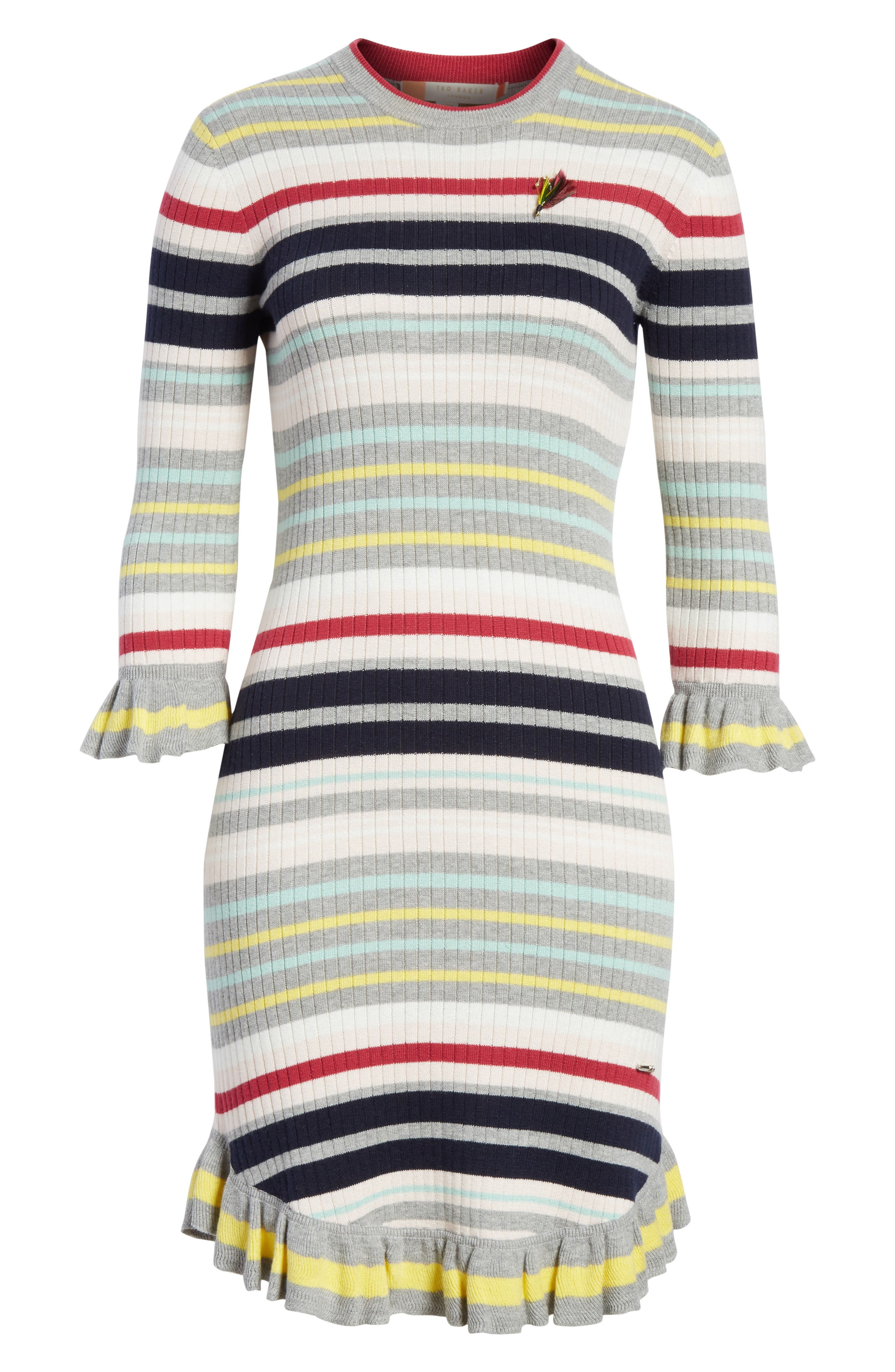 Colour by Numbers Stripe Sweater Dress,                             Alternate thumbnail 6, color,                             Grey