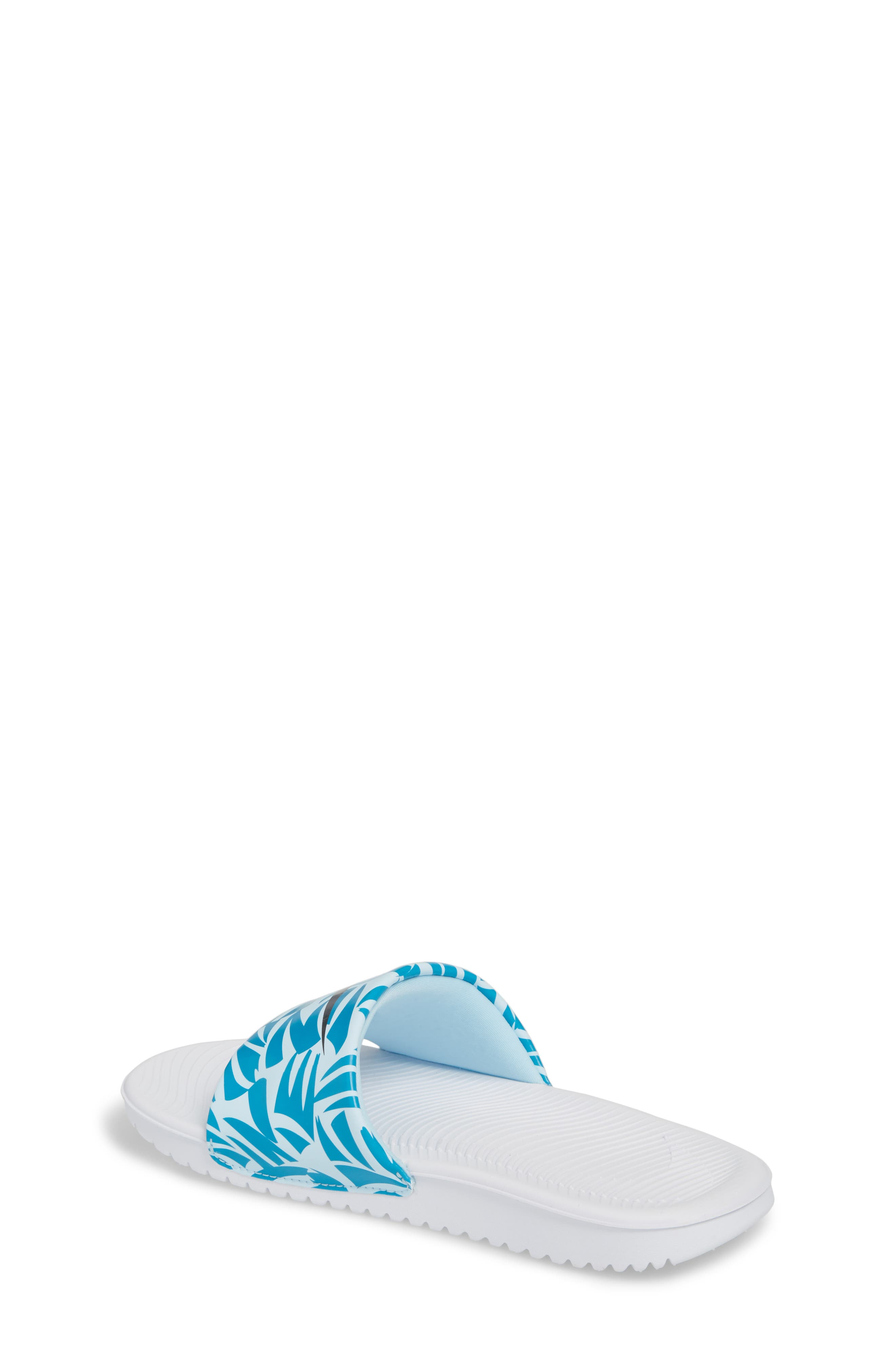 'Kawa' Print Slide Sandal,                             Alternate thumbnail 2, color,                             White/ Anthracite/ Turquoise