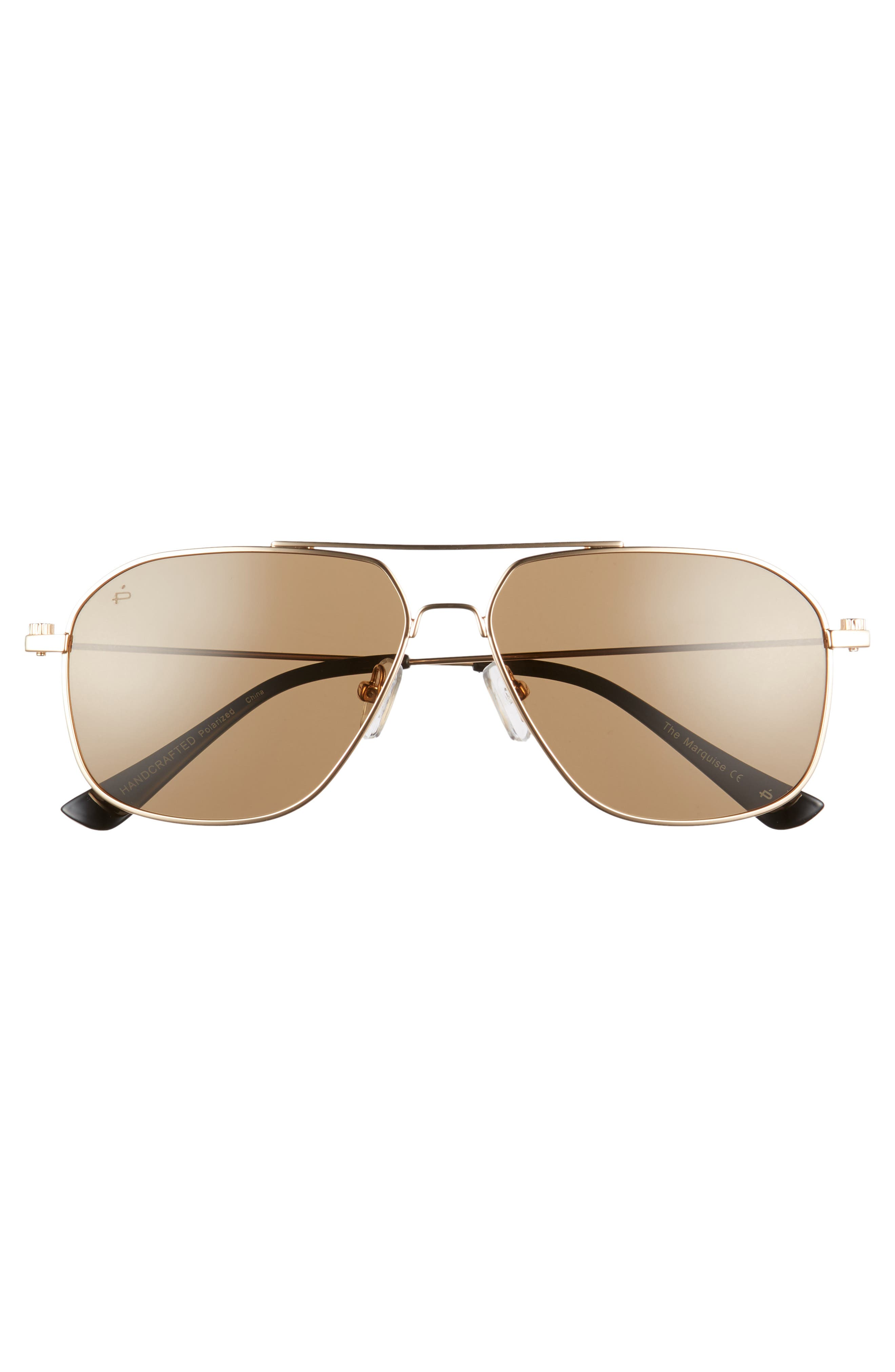 Privé Revaux The Marquise 58mm Aviator Sunglasses,                             Alternate thumbnail 3, color,                             Metal/ Gold