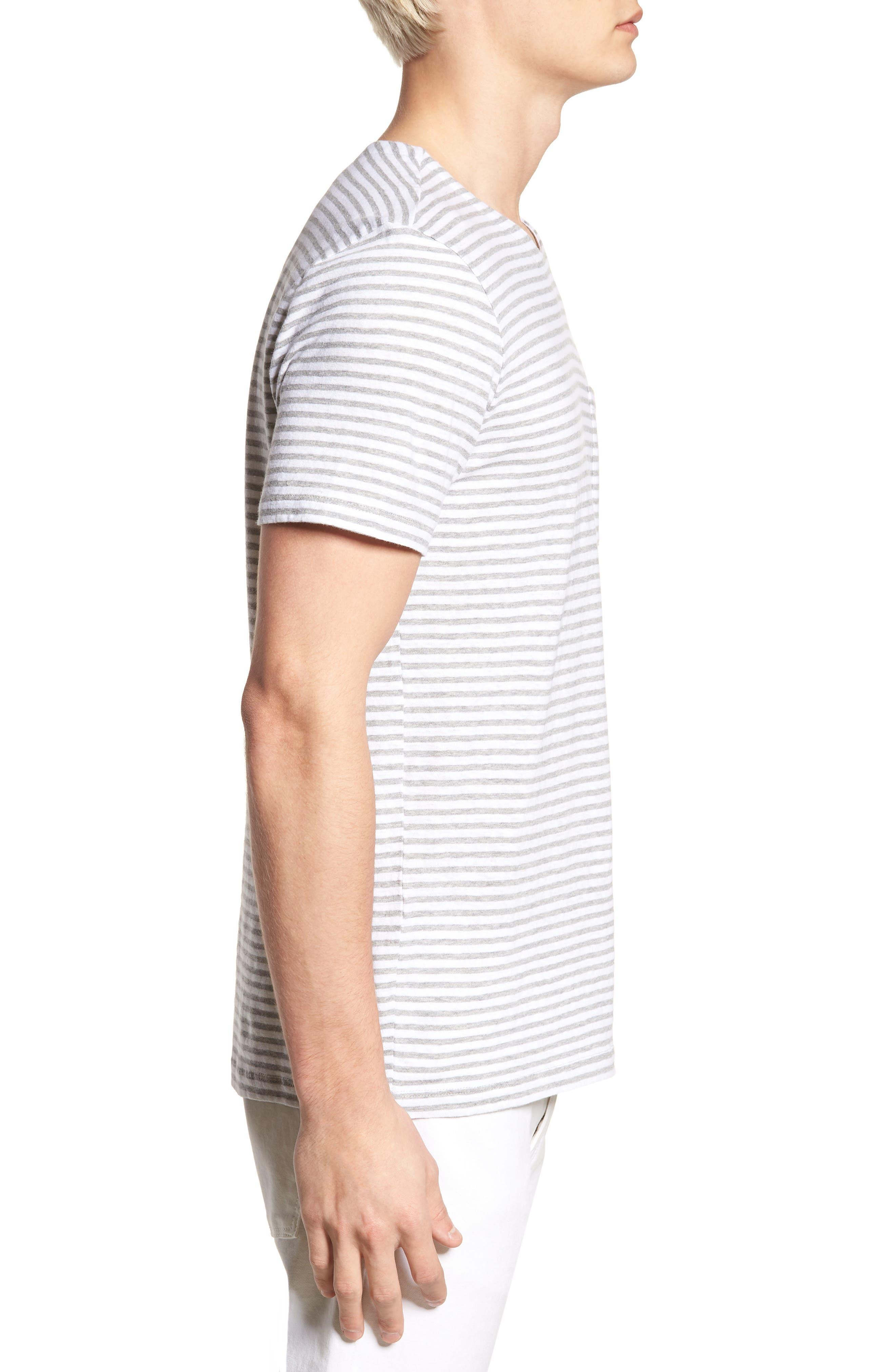 & Bros. Stripe Crewneck T-Shirt,                             Alternate thumbnail 3, color,                             White Stripe