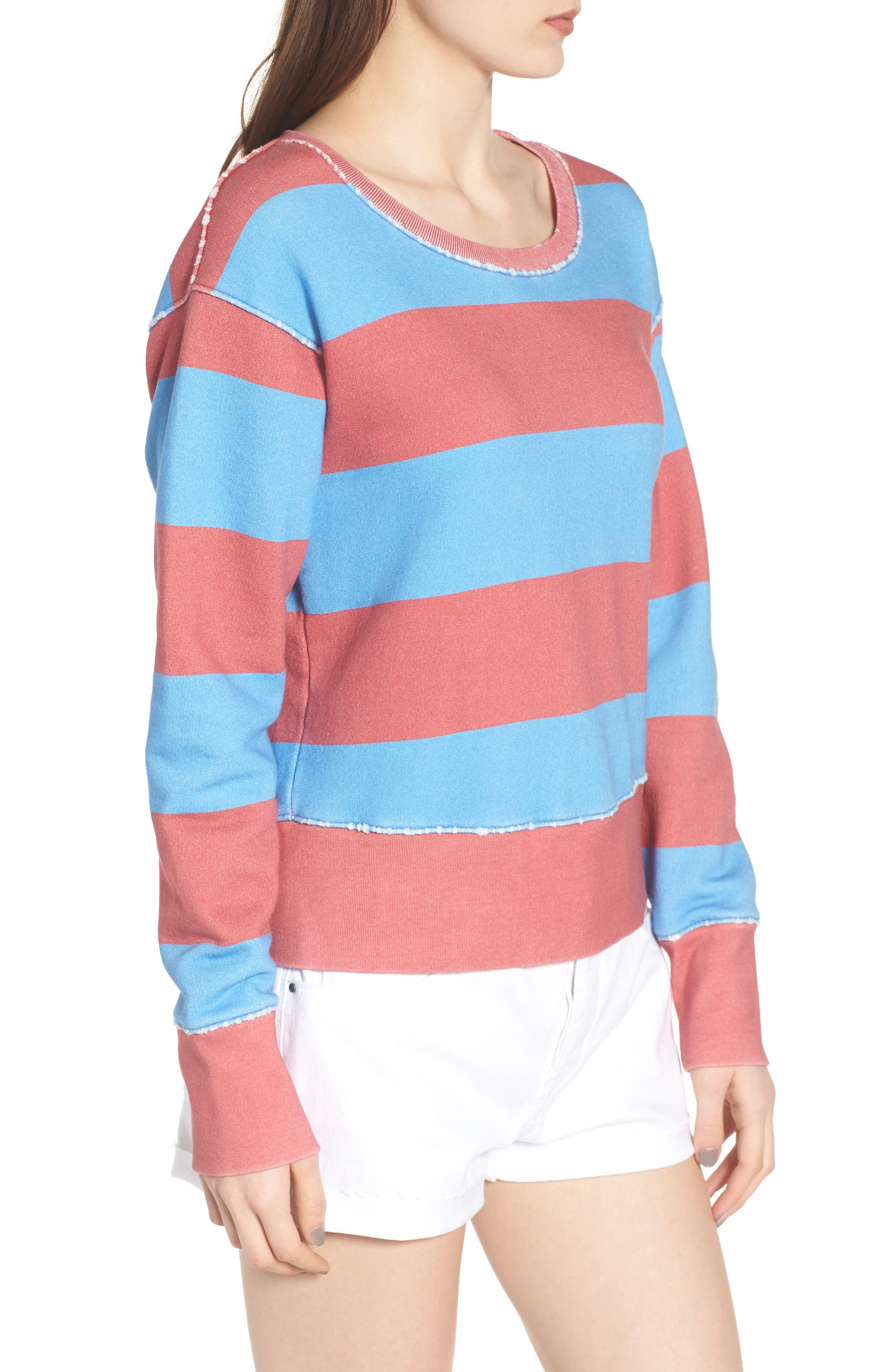 Stripe Crewneck Sweatshirt,                             Alternate thumbnail 3, color,                             Red Rugby 5 Vintage Year Wash