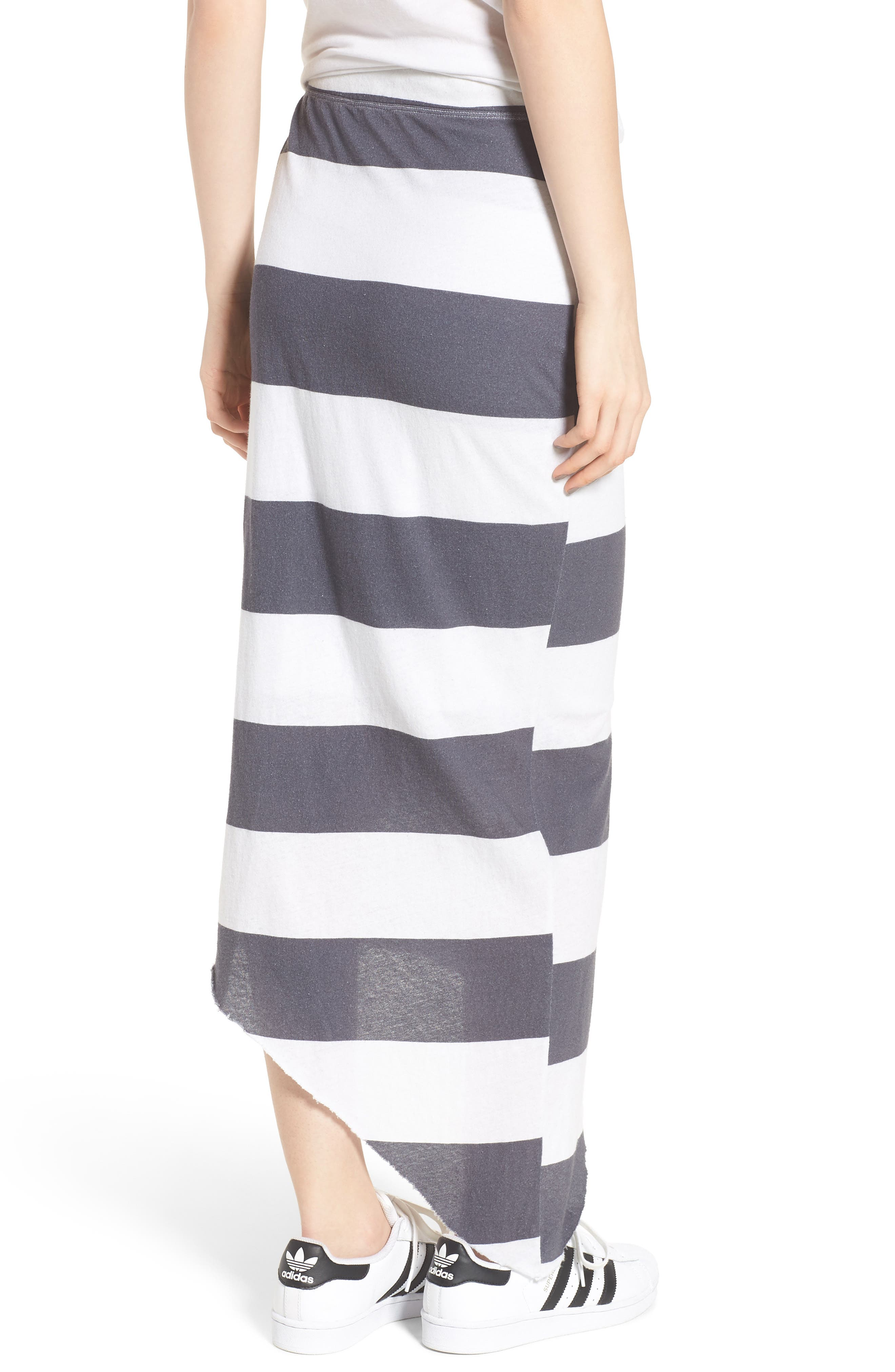 Stripe Asymmetrical Skirt,                             Alternate thumbnail 2, color,                             Carbon Rugby