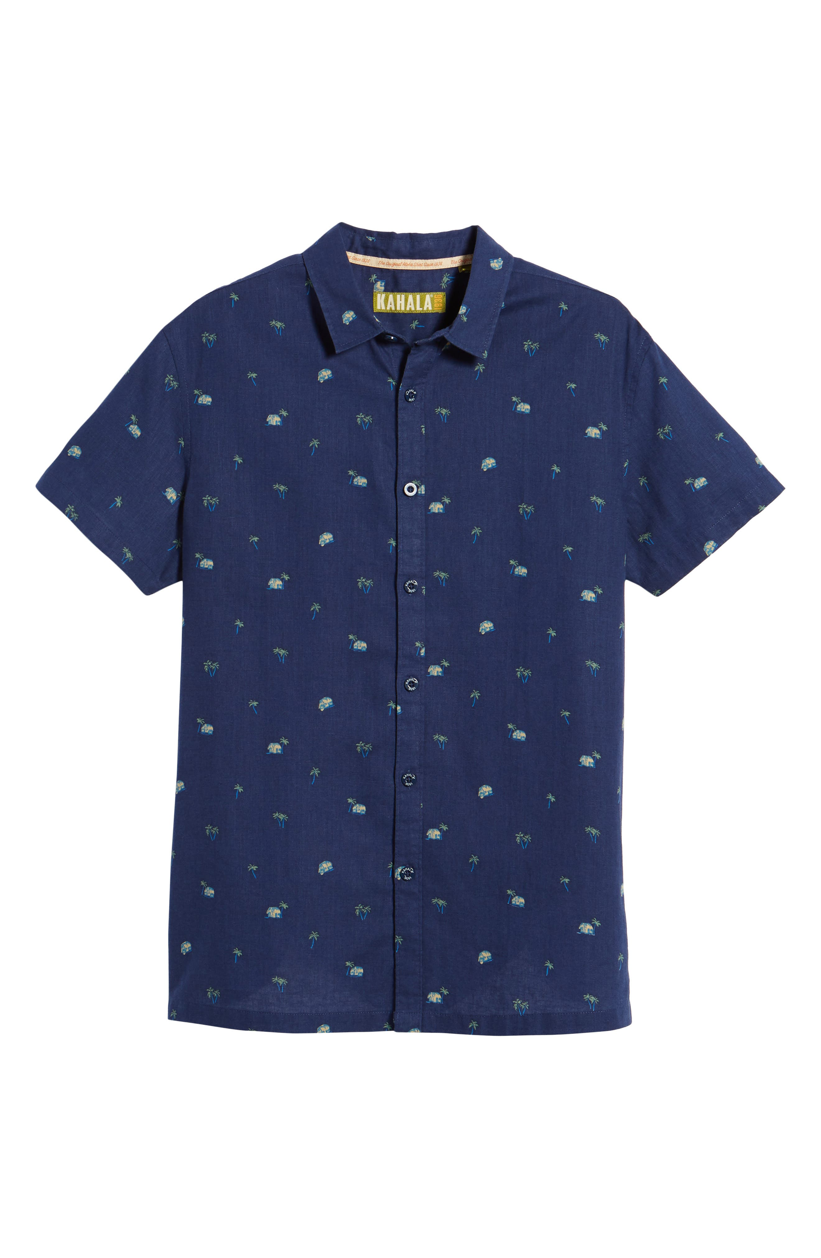 Hale Niu Trim Fit Linen Blend Camp Shirt,                             Alternate thumbnail 6, color,                             Navy