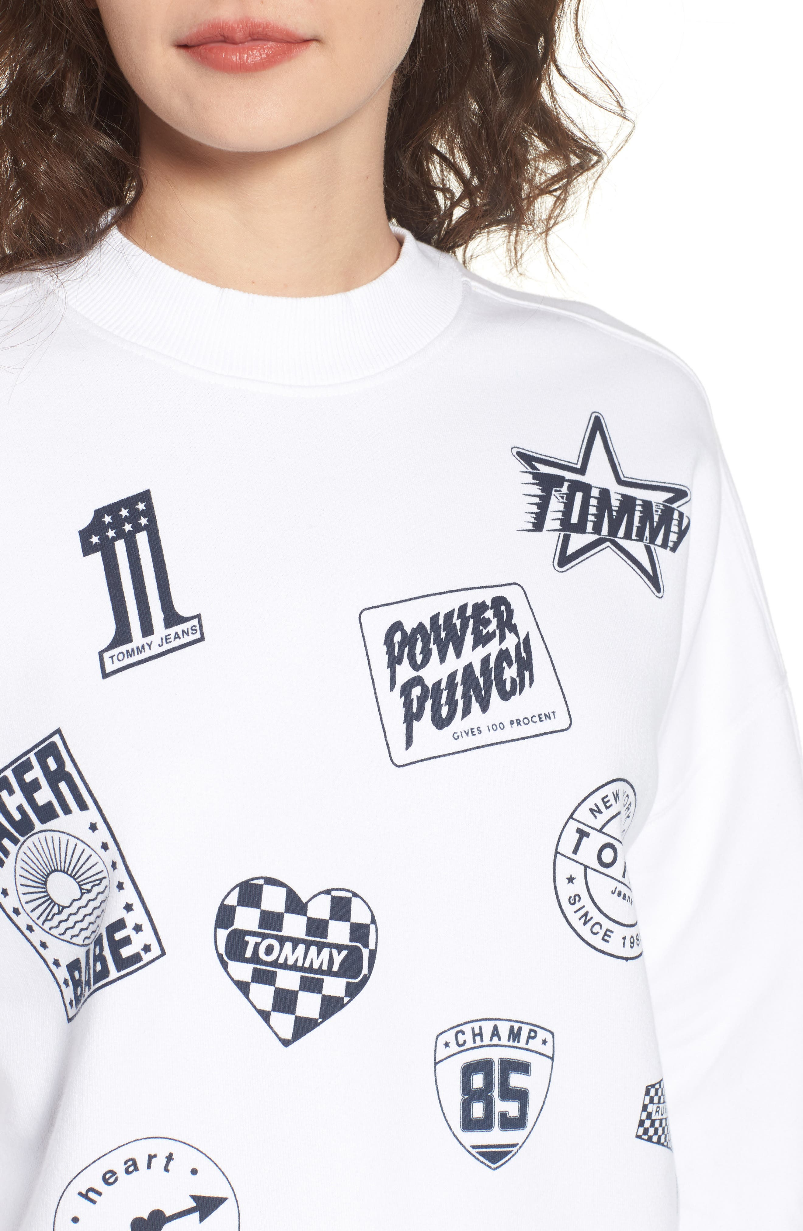 Race Uniform Badge Sweatshirt,                             Alternate thumbnail 4, color,                             Bright White