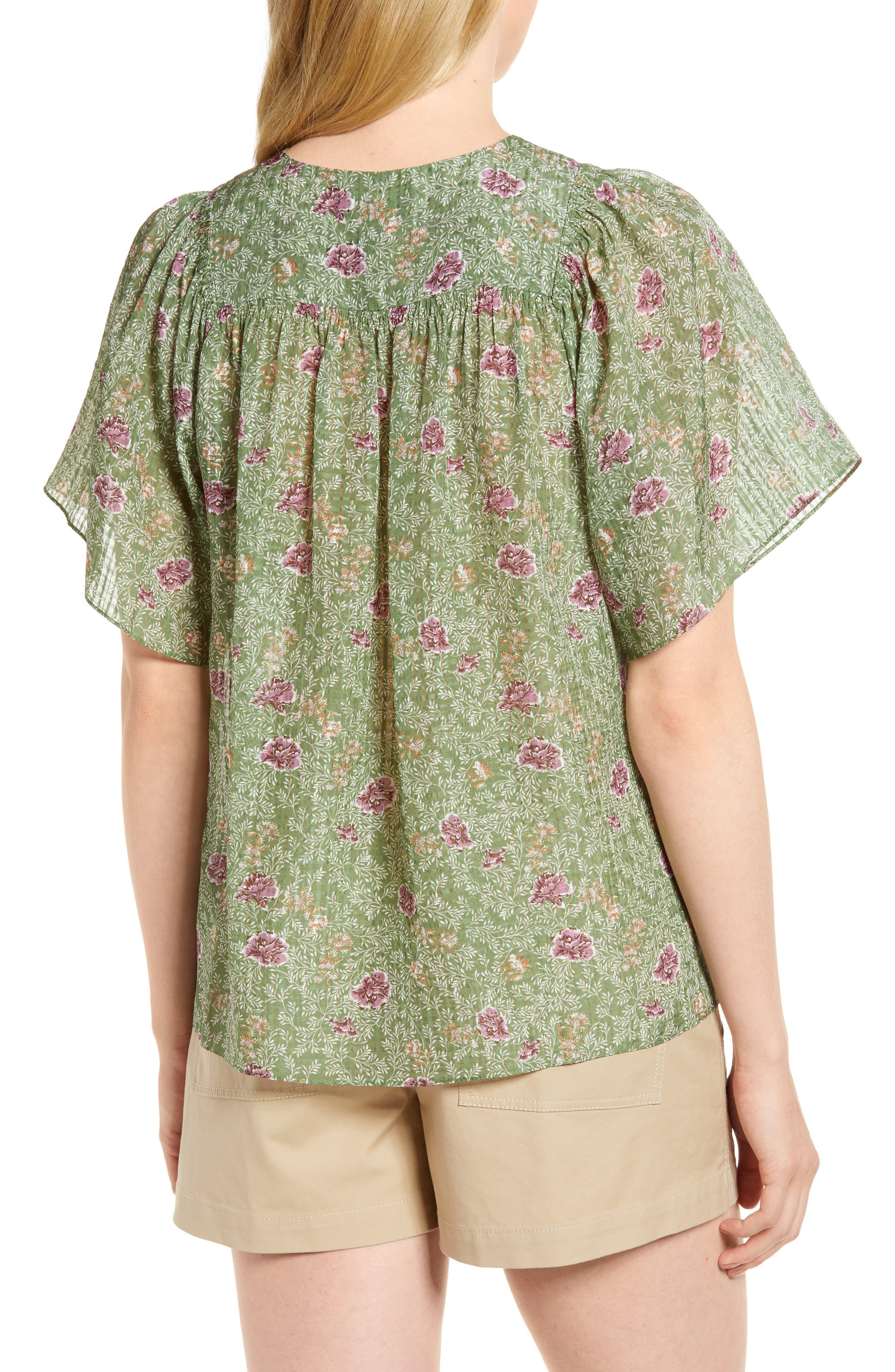 Floral Flutter Sleeve Silk Top,                             Alternate thumbnail 2, color,                             Green Vineyard Jakarta Floral