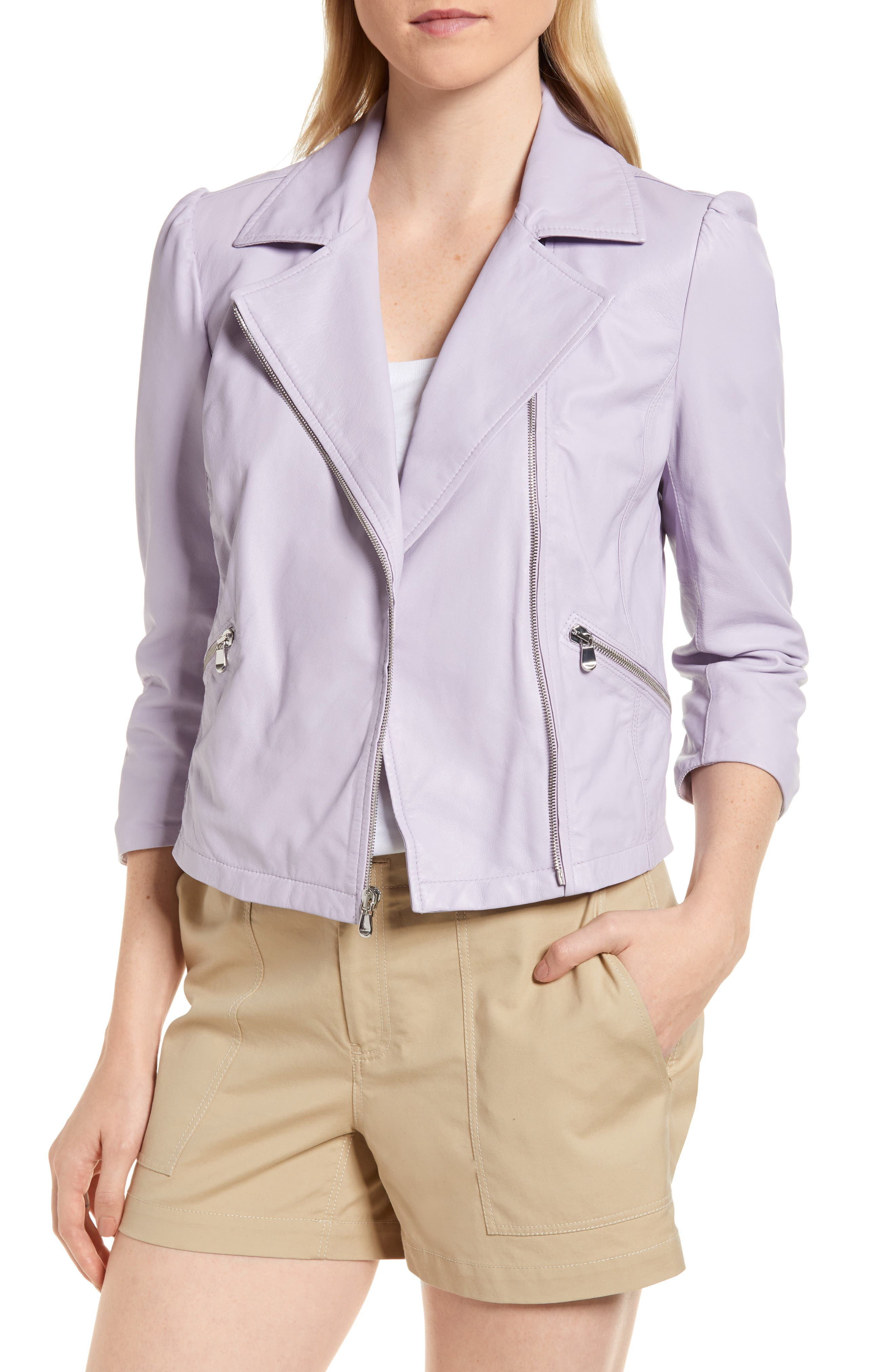 Crop Leather Moto Jacket,                             Main thumbnail 1, color,                             Purple Petal