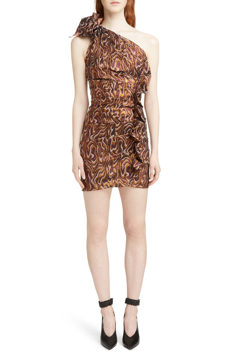 Synee One Shoulder Metallic Jacquard Dress