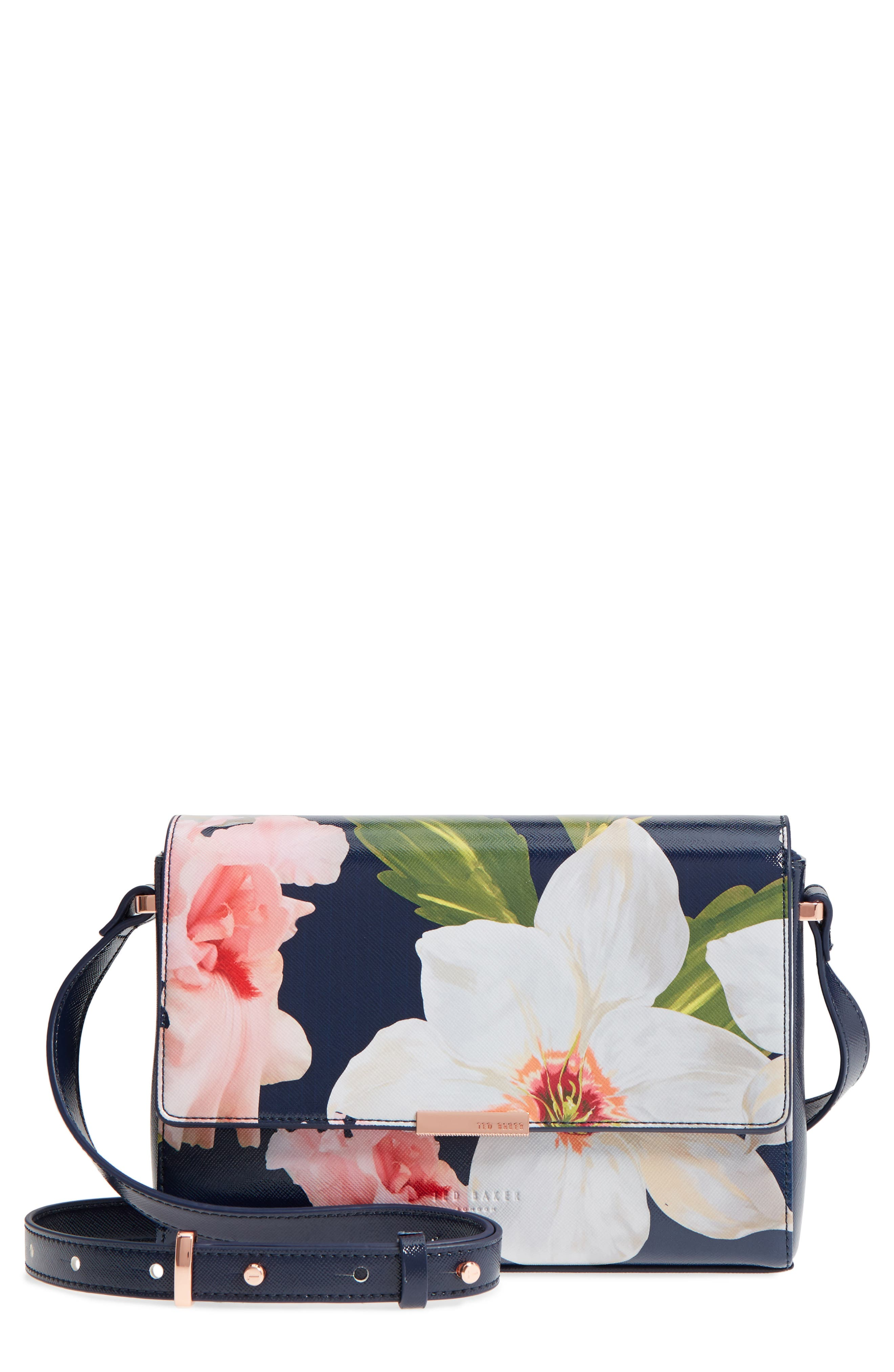 Prim Chatsworth Bloom Faux Leather Crossbody Bag,                             Main thumbnail 1, color,                             Navy