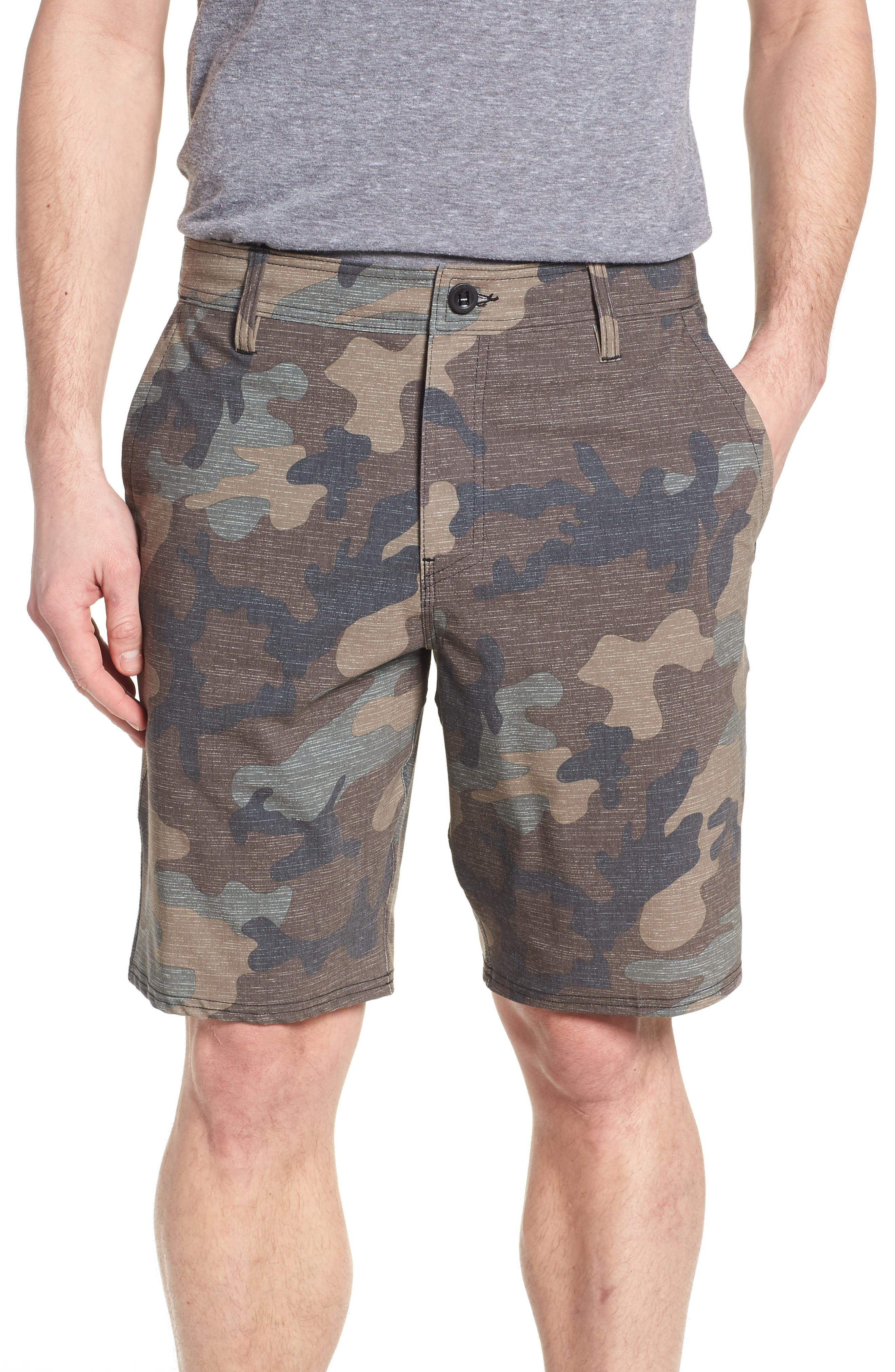 Mixed Hybrid Shorts,                             Main thumbnail 1, color,                             Camo