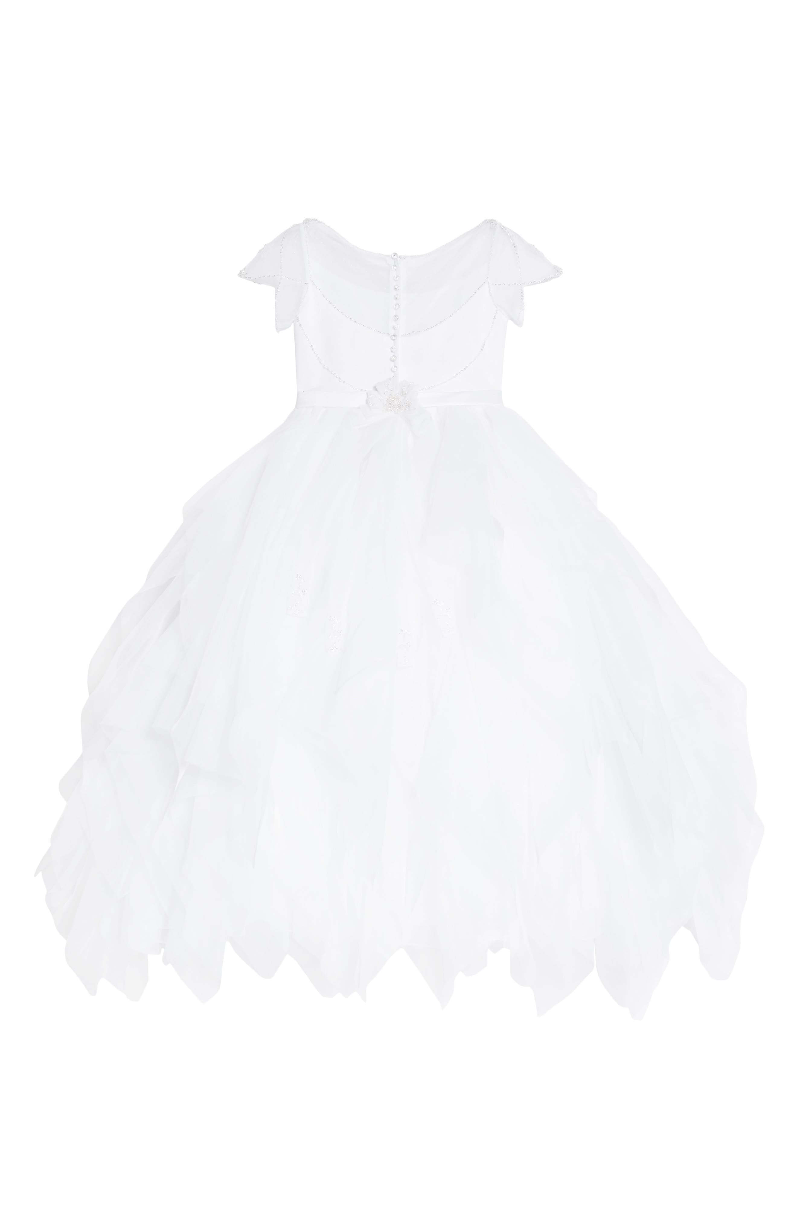 Beaded Organza & Tulle First Communion Dress,                             Alternate thumbnail 2, color,                             White