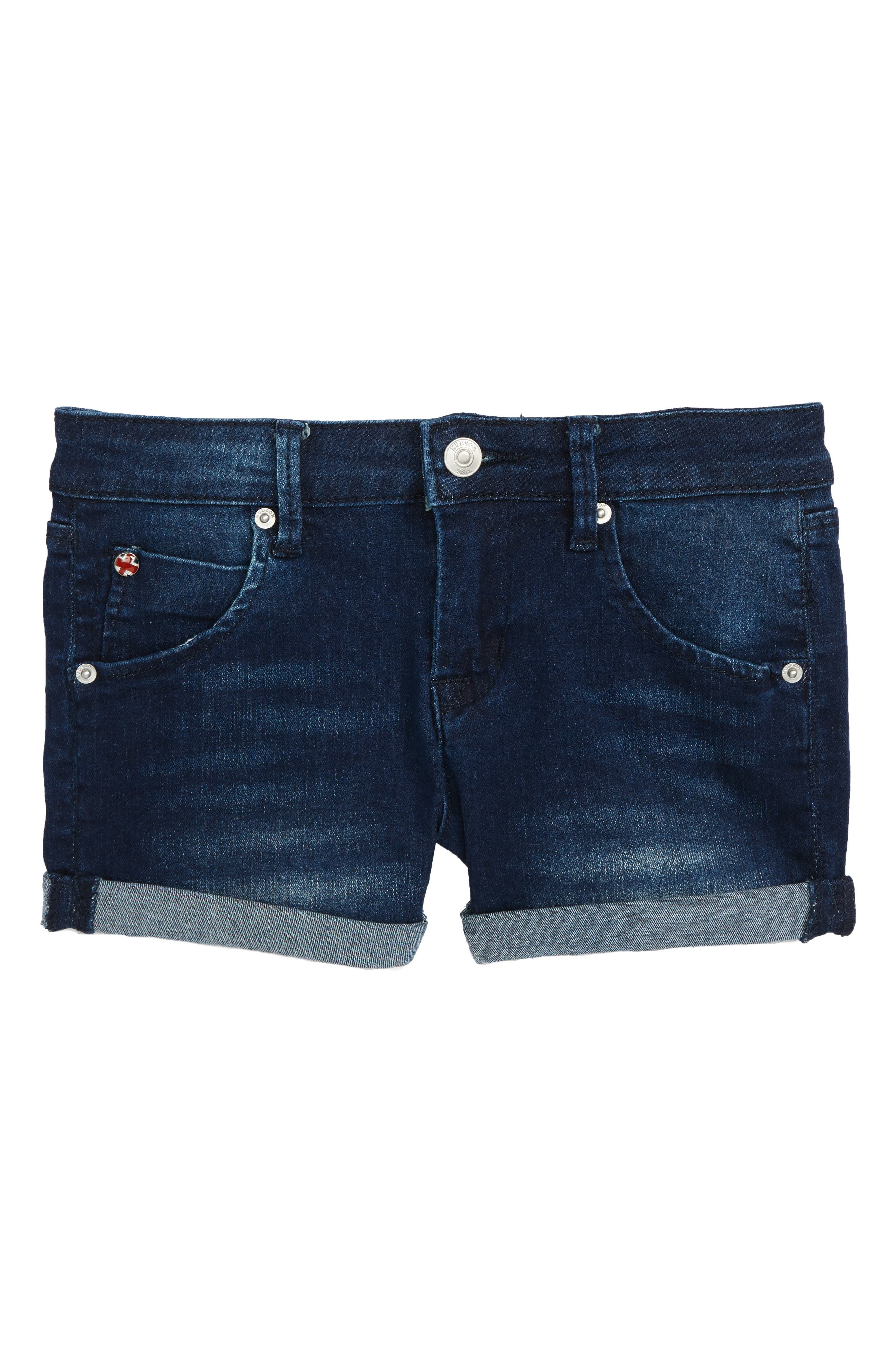 Roll Cuff Denim Shorts,                         Main,                         color, Low Octane