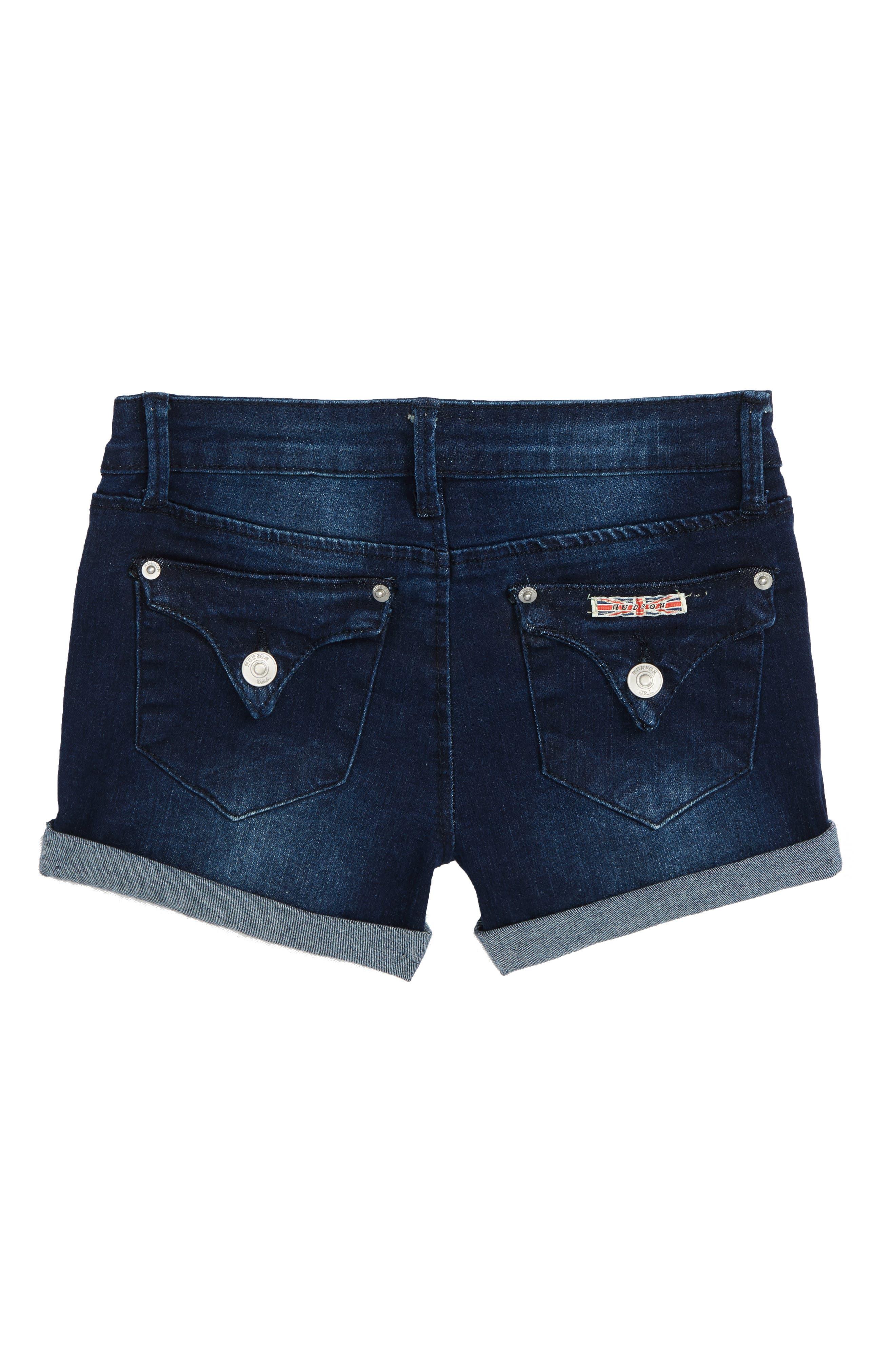 Roll Cuff Denim Shorts,                             Alternate thumbnail 2, color,                             Low Octane