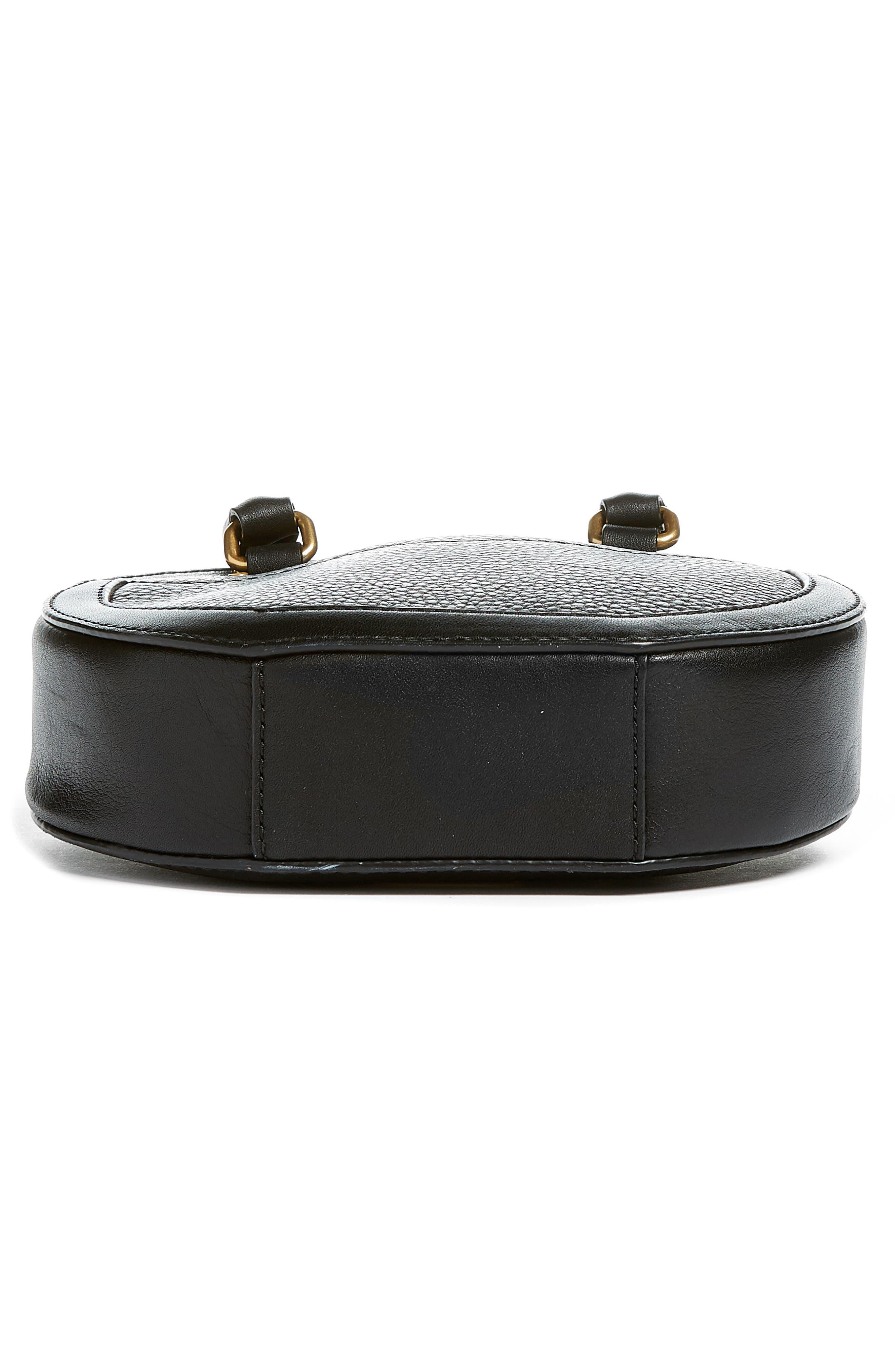 Bree Circle Leather Crossbody Bag,                             Alternate thumbnail 6, color,                             Black