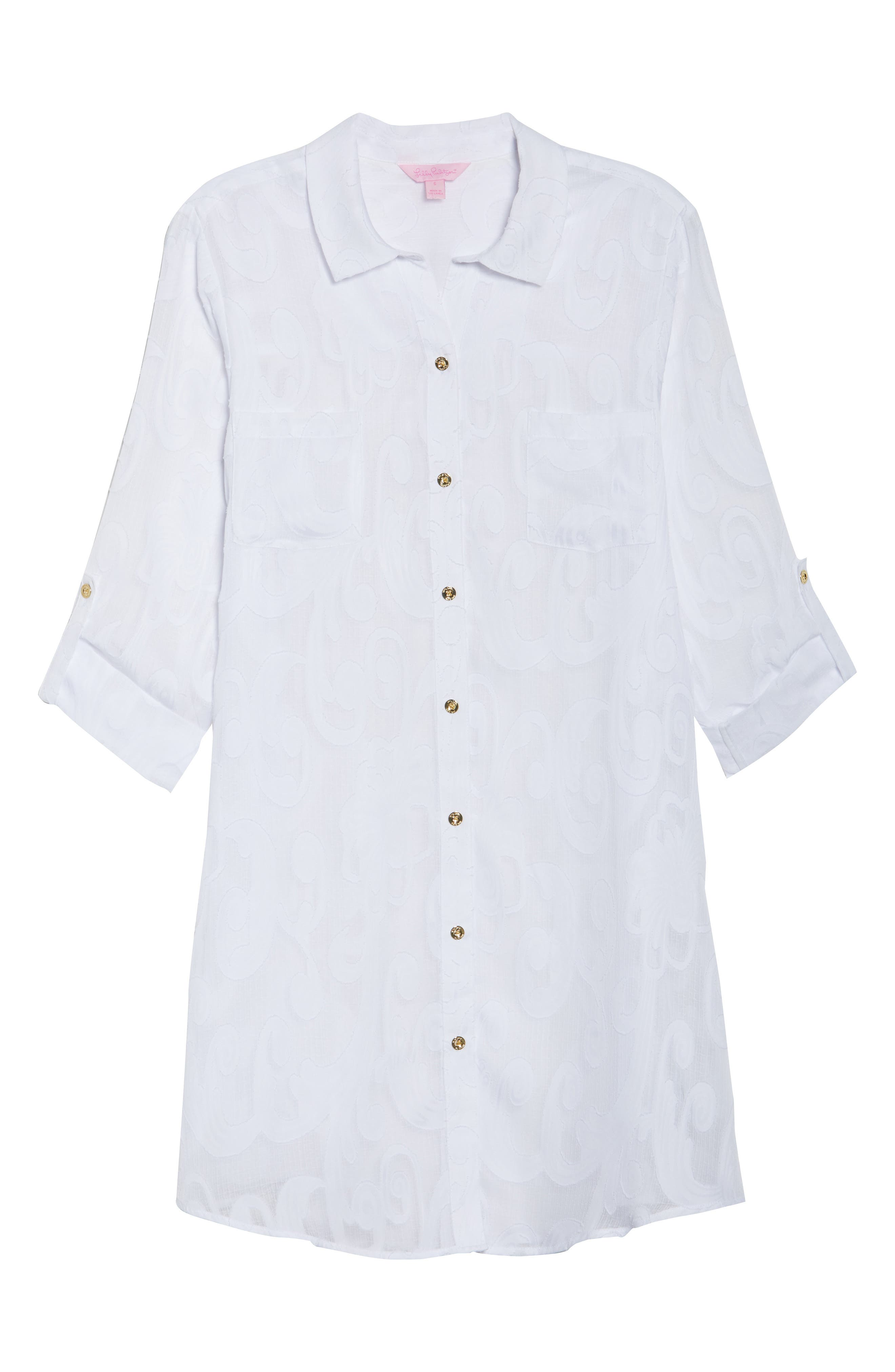 Natalie Shirtdress Cover-Up,                             Alternate thumbnail 6, color,                             Resort White Poly Crepe Swirl