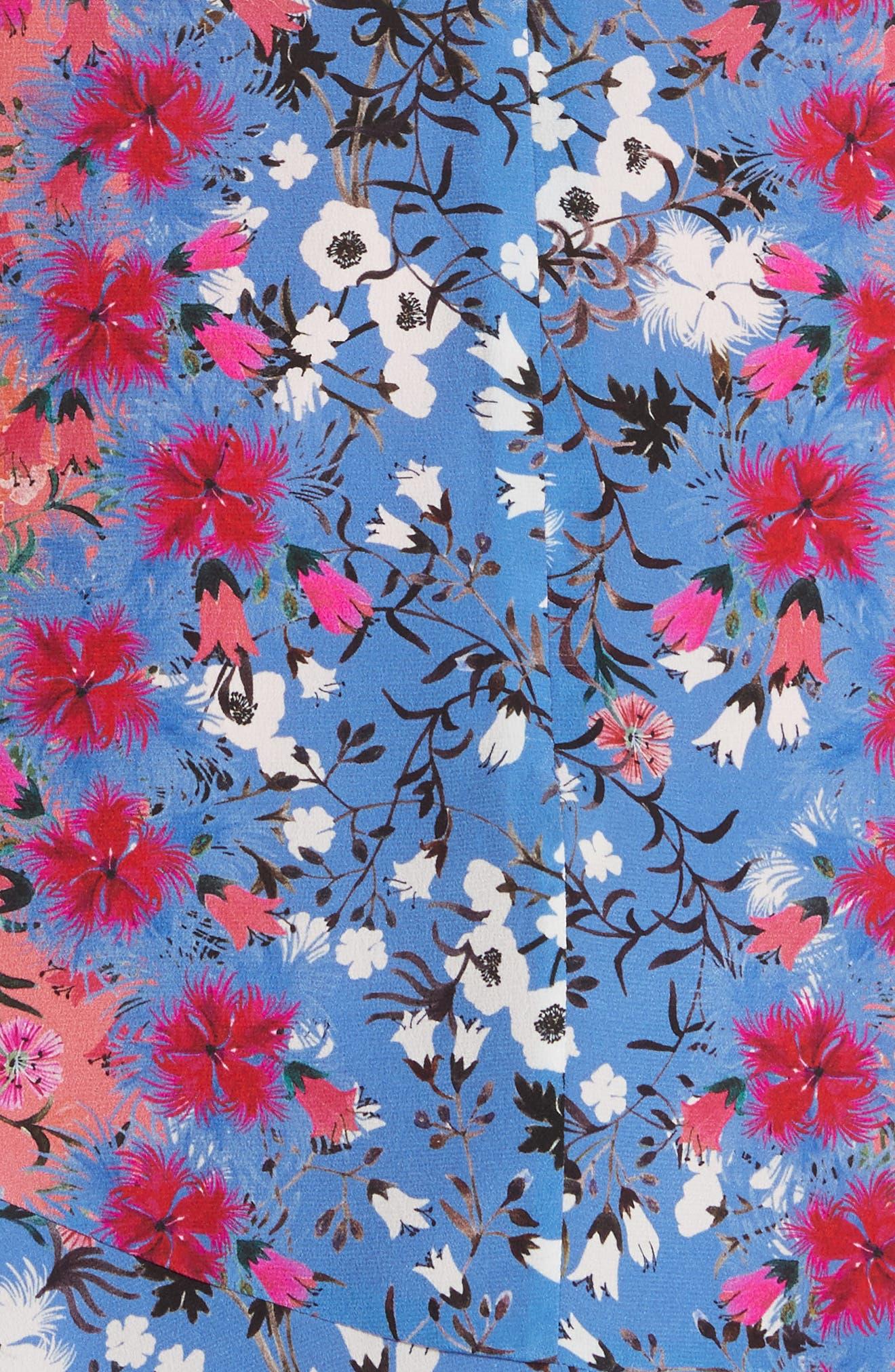 Grace Off the Shoulder Silk Dress,                             Alternate thumbnail 5, color,                             Foxglove Meadow