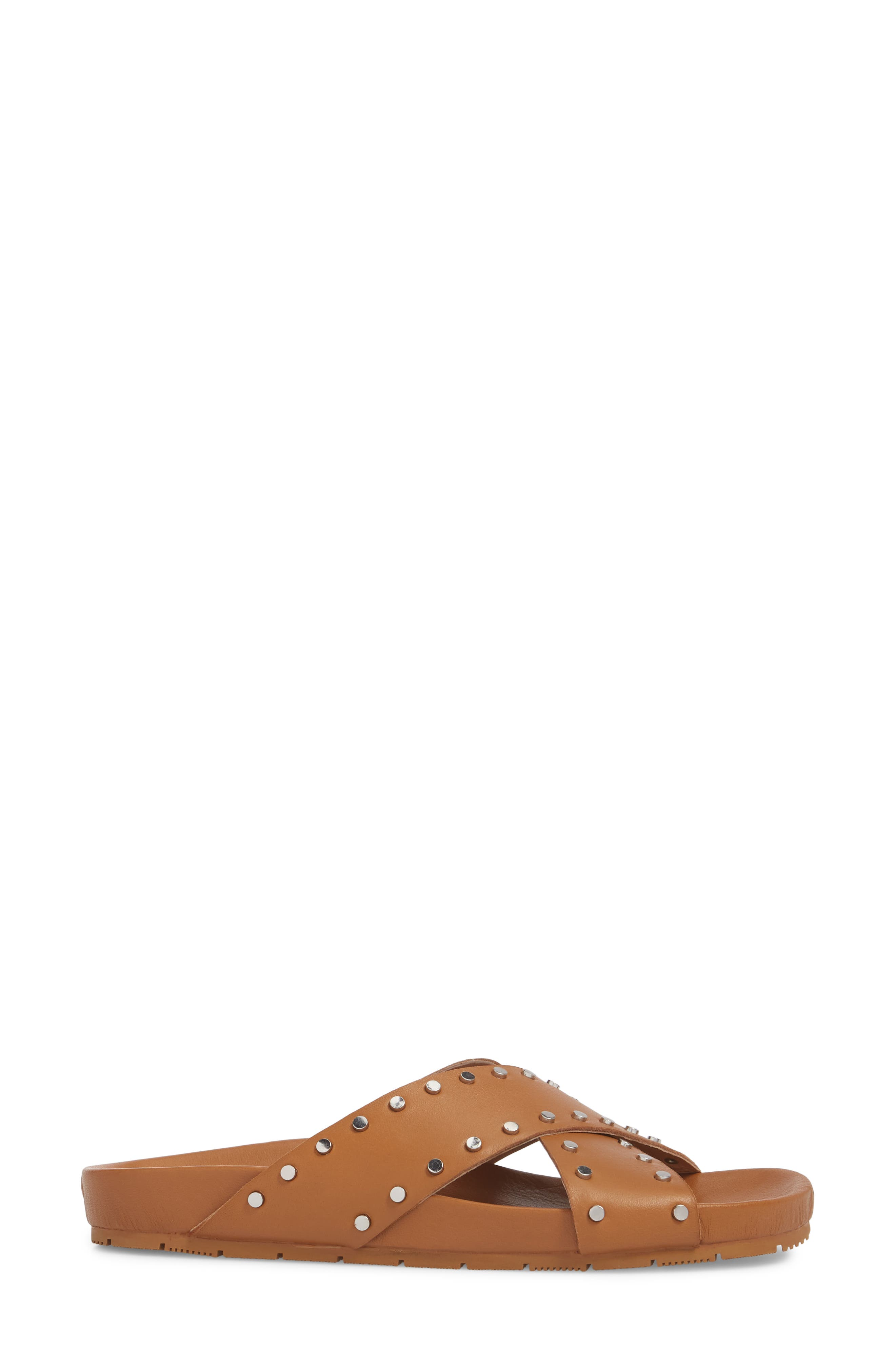 Ellie Studded Slide Sandal,                             Alternate thumbnail 3, color,                             Tan Leather