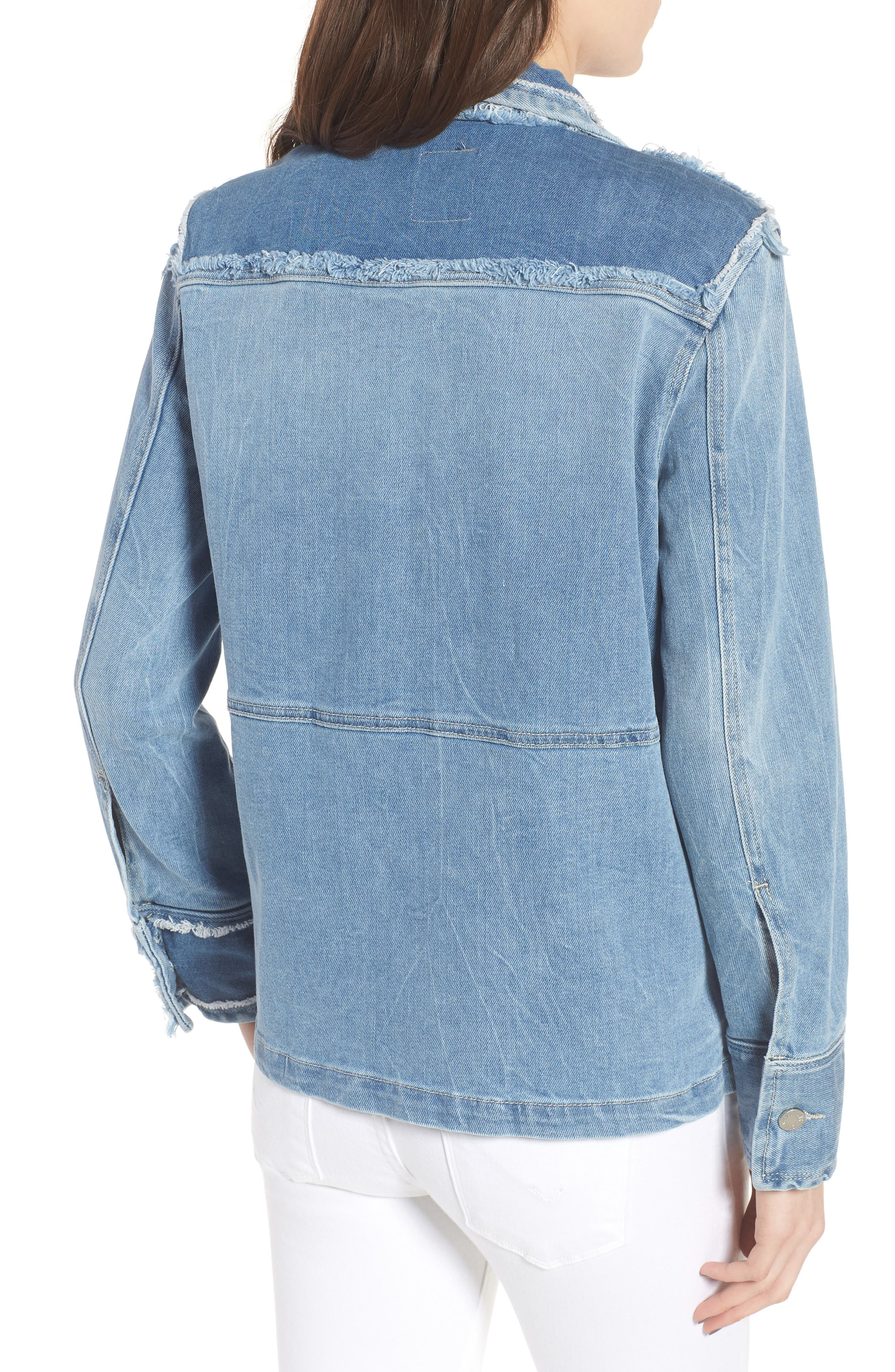 Kick Destroy Deconstructed Denim Jacket,                             Alternate thumbnail 2, color,                             Bleu
