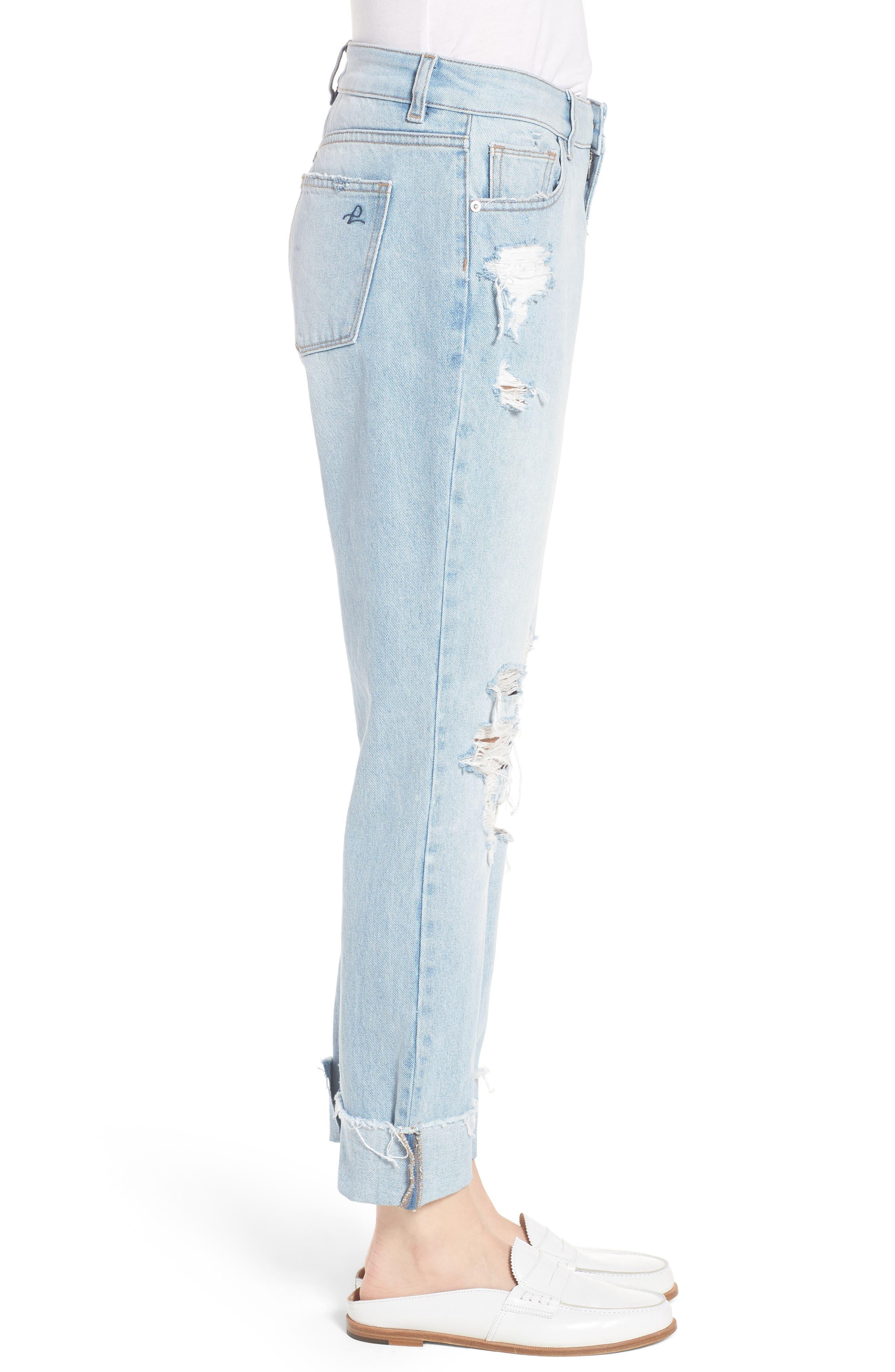 Stevie Ripped Crop Slim Boyfriend Jeans,                             Alternate thumbnail 3, color,                             Drift