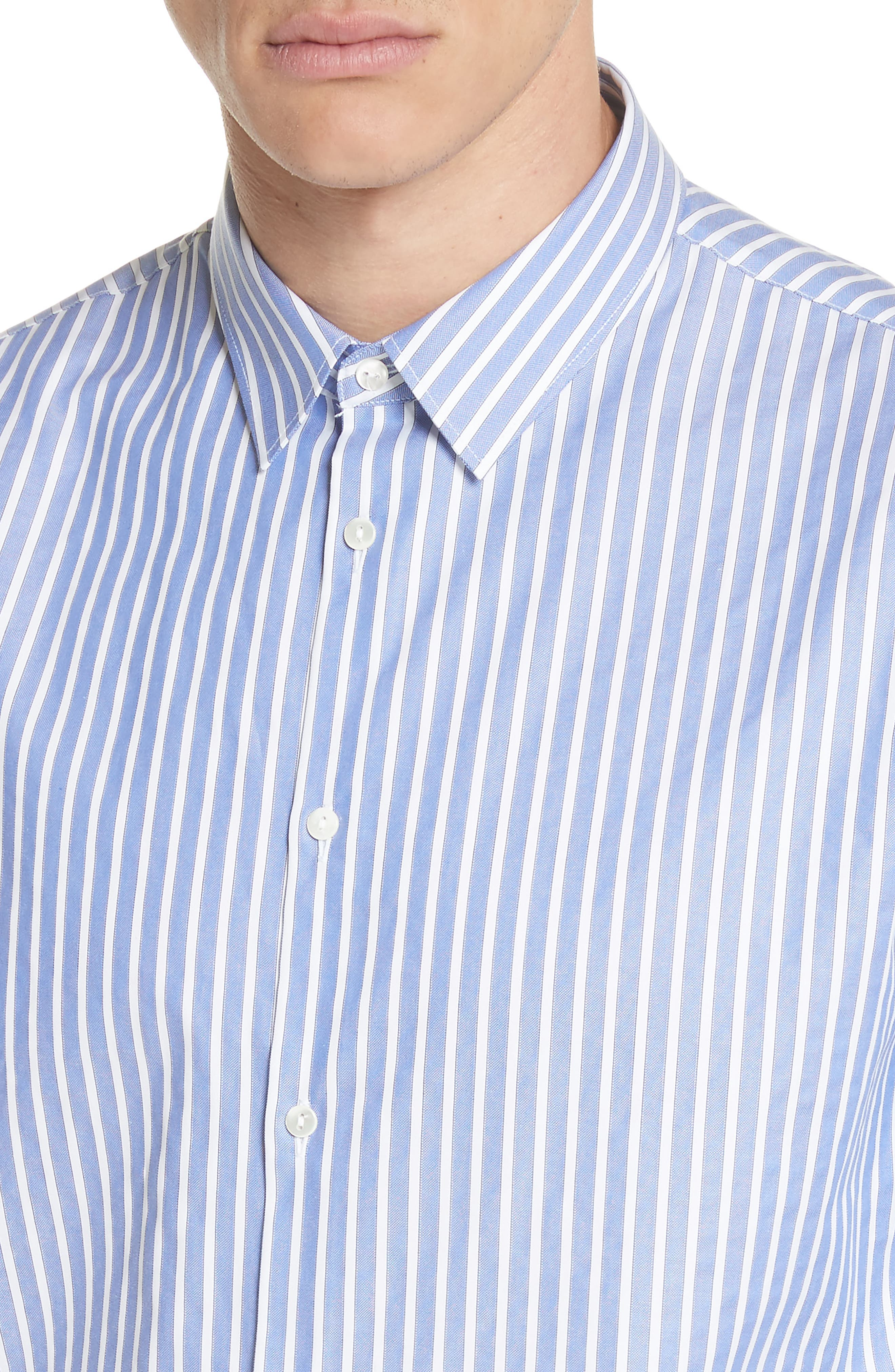 Bee Embroidered Stripe Dress Shirt,                             Alternate thumbnail 2, color,                             4869 Blue