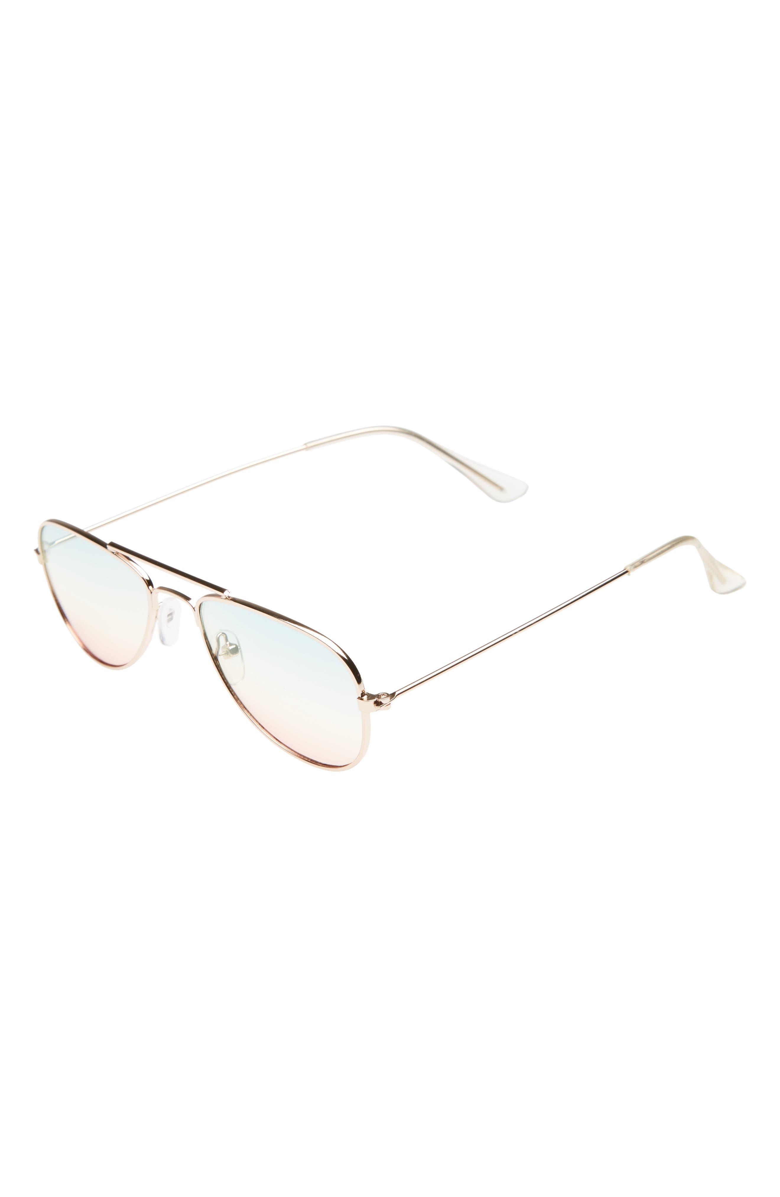 Rainbow Aviator Sunglasses,                             Main thumbnail 1, color,                             Gold