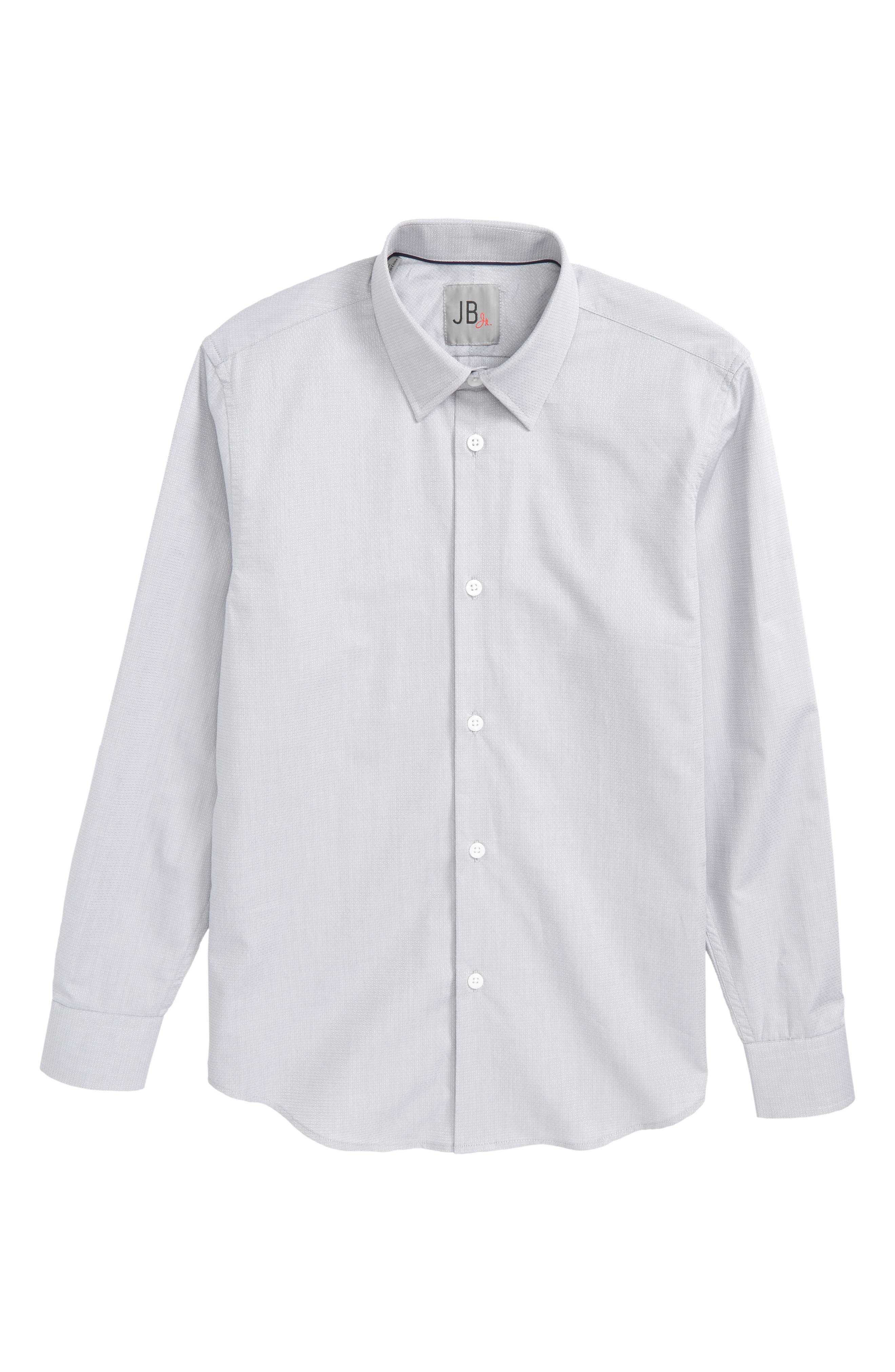 Solid Dress Shirt,                         Main,                         color, Grey