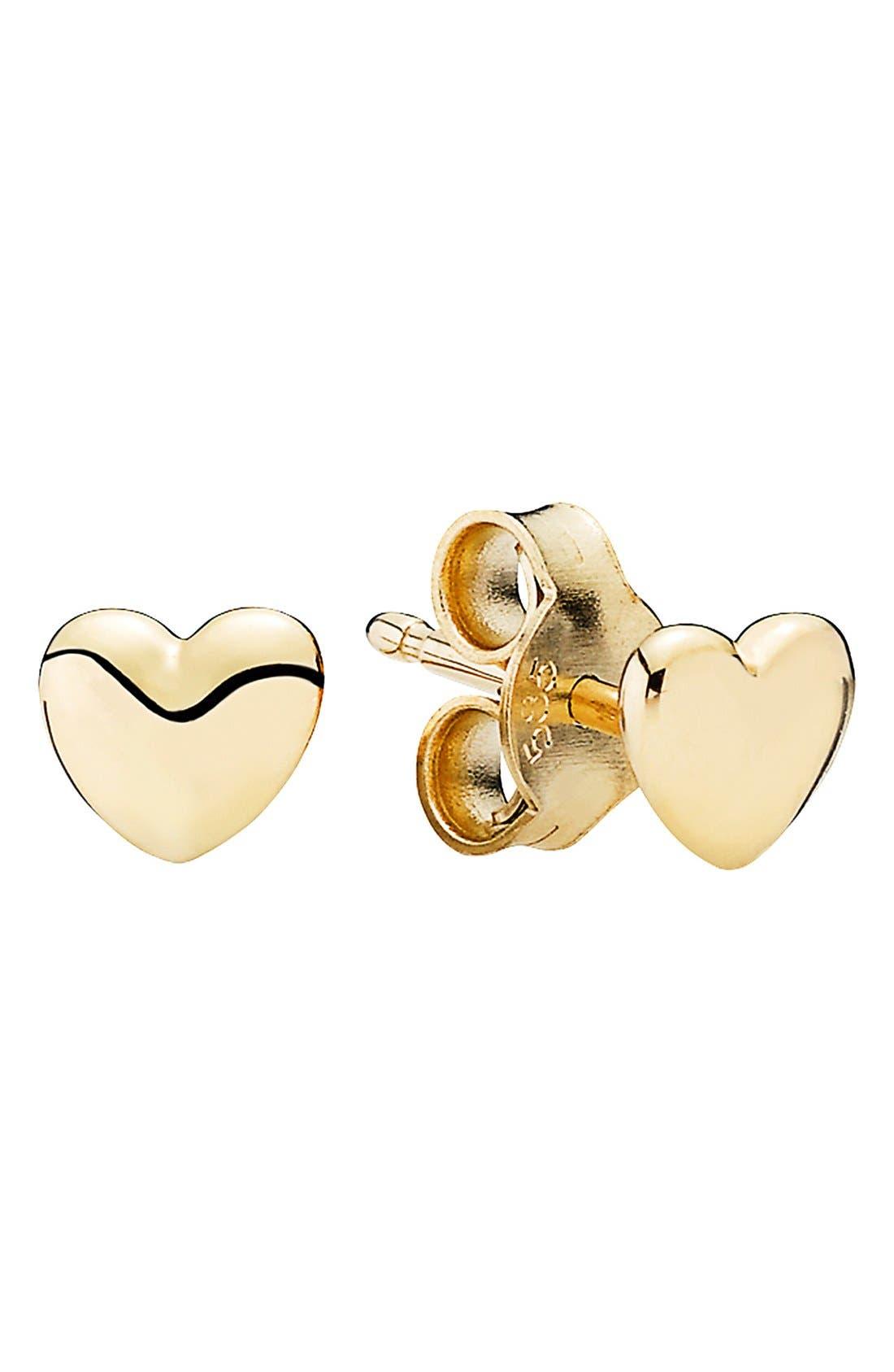 Mini Heart Stud Earrings,                         Main,                         color, Gold