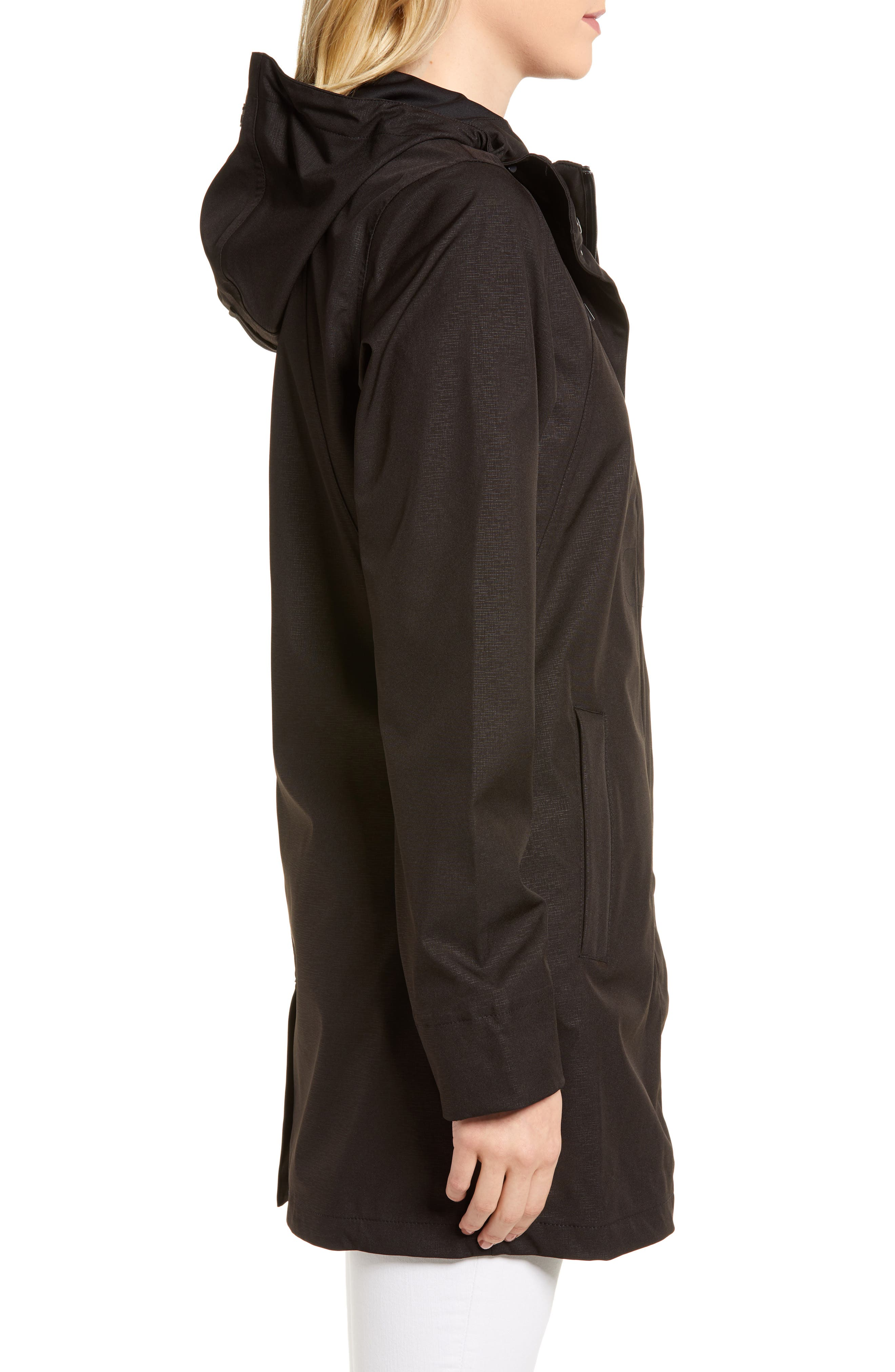 Soft Shell Raincoat,                             Alternate thumbnail 3, color,                             Black