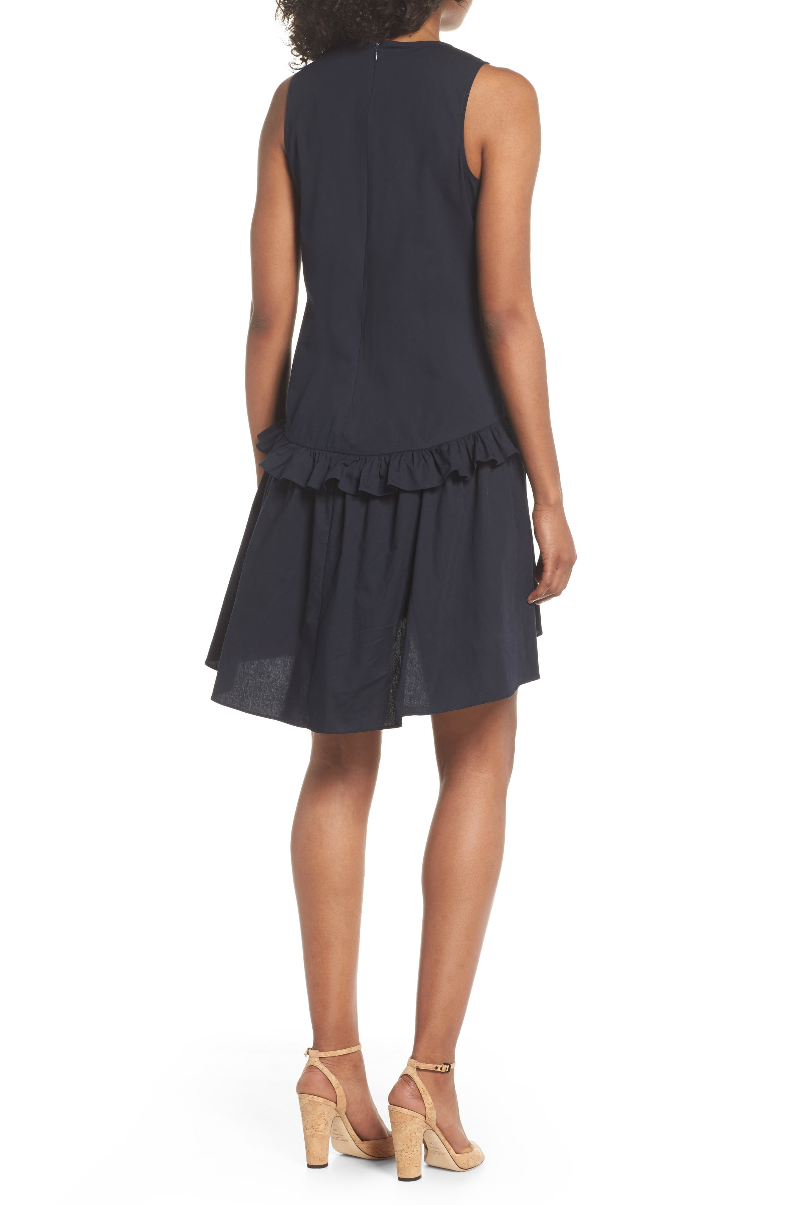 Sleeveless Ruffle High/Low Dress,                             Alternate thumbnail 2, color,                             Dark Navy