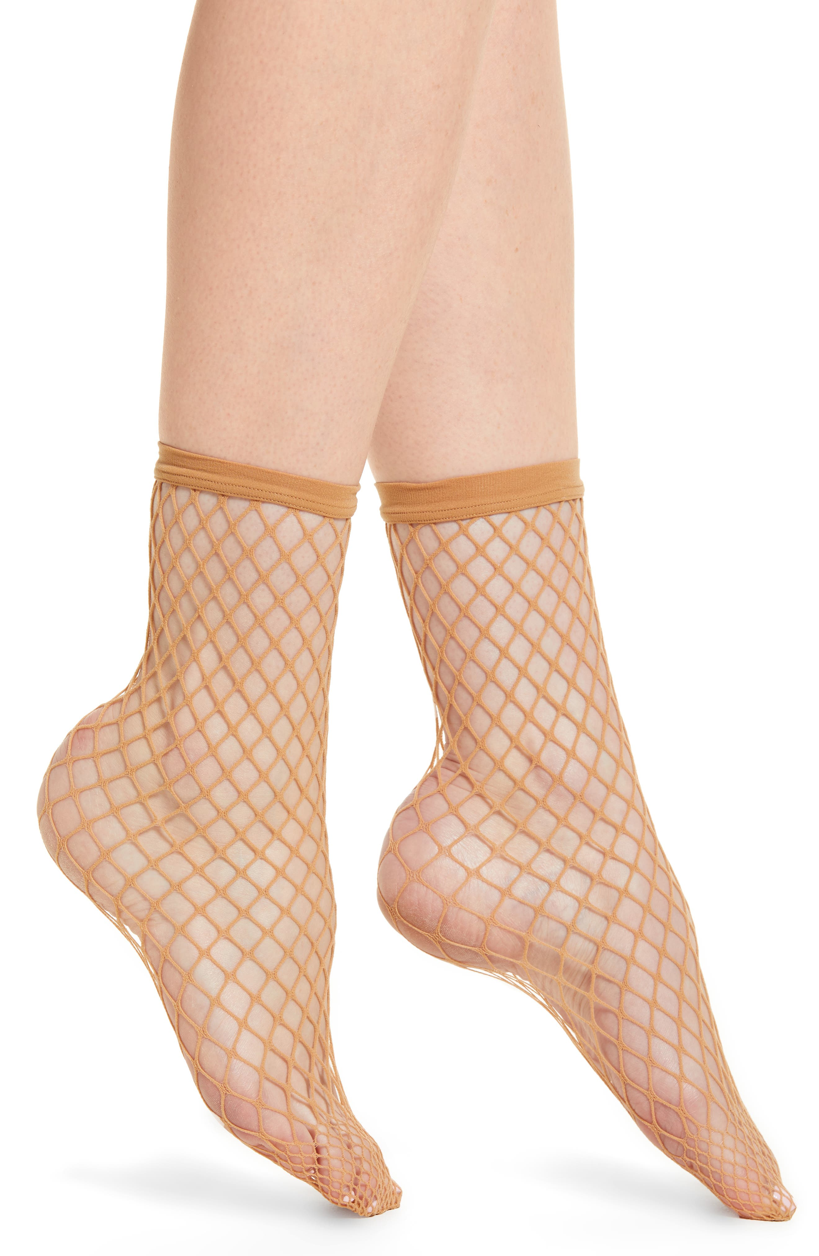 Tina Summer Net Ankle Socks,                             Main thumbnail 1, color,                             Gobi