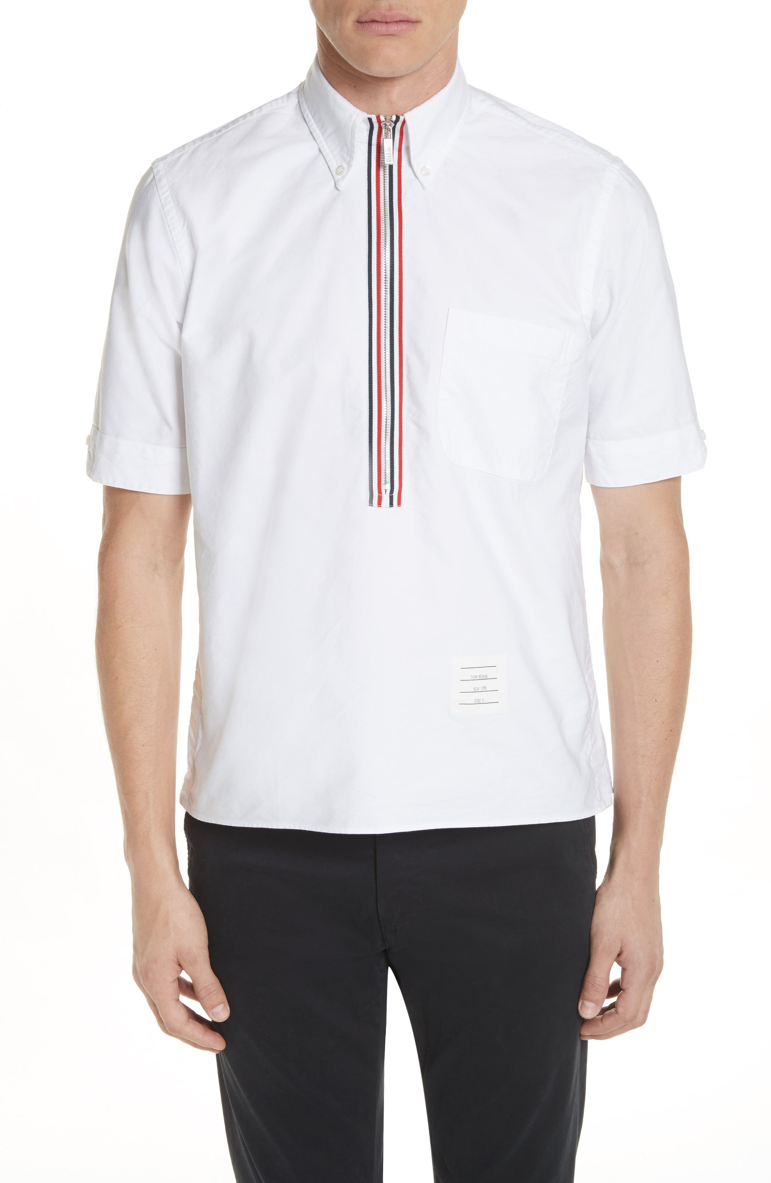 Thom Browne Zip Pullover Woven Shirt