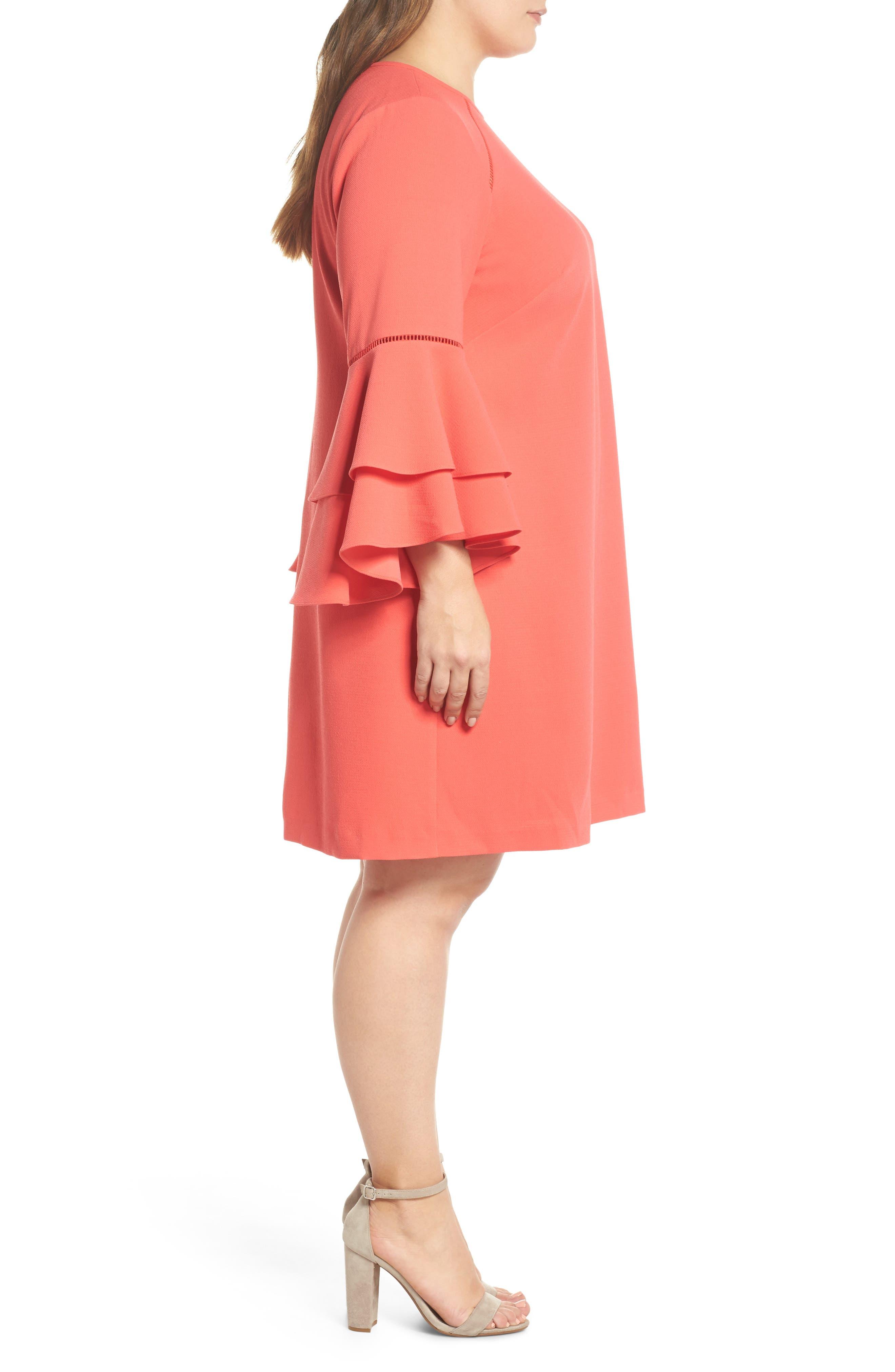 Alternate Image 3  - Chelsea28 Ruffle Bell Sleeve Shift Dress (Plus Size)