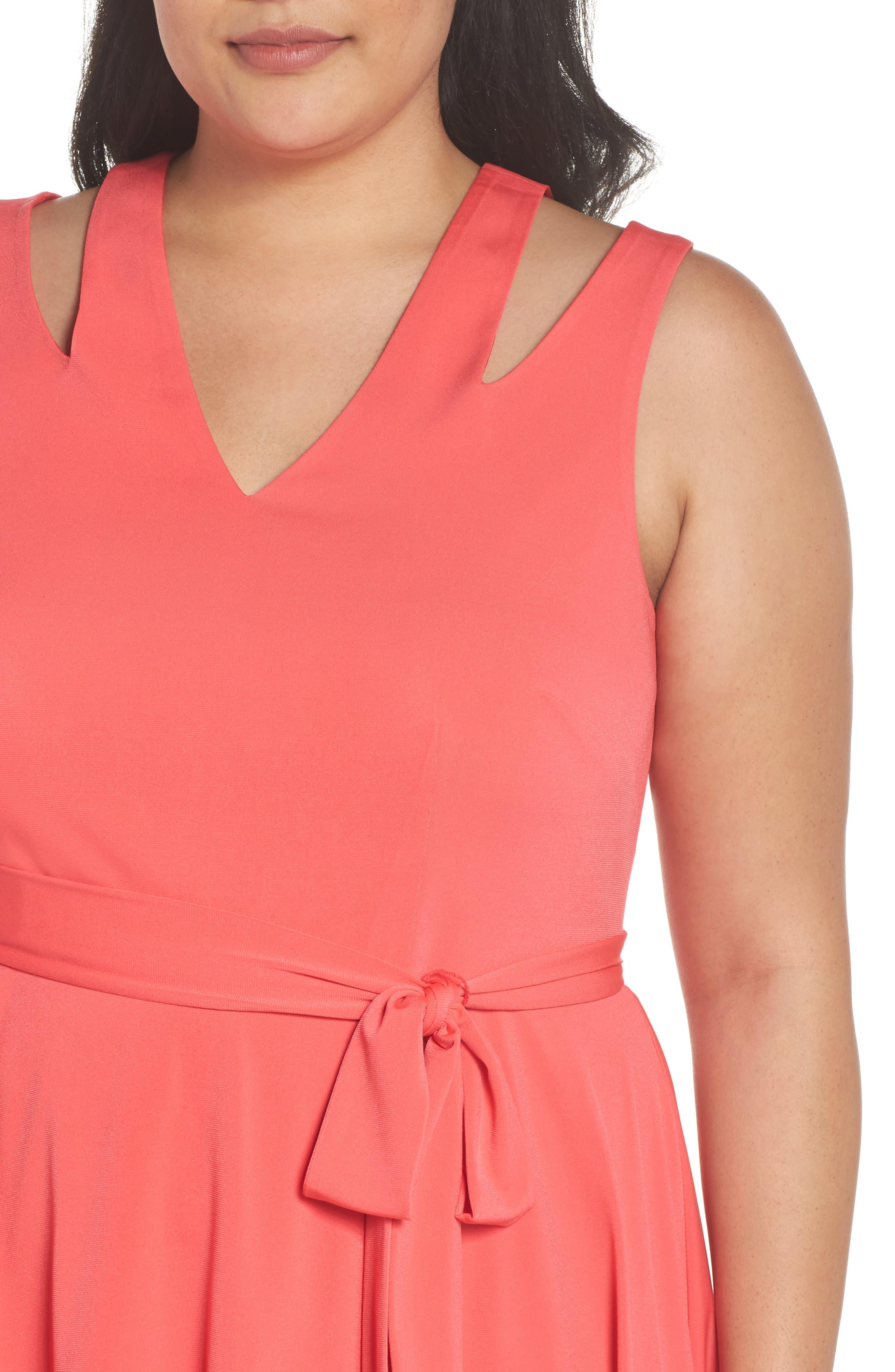 Split Shoulder High/Low Knit Dress,                             Alternate thumbnail 4, color,                             Pink