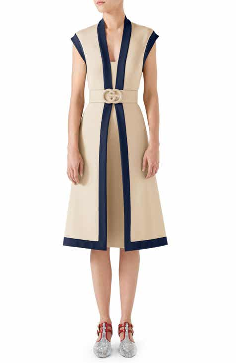 58aac35e863b Gucci Contrast Trim Belted Dress