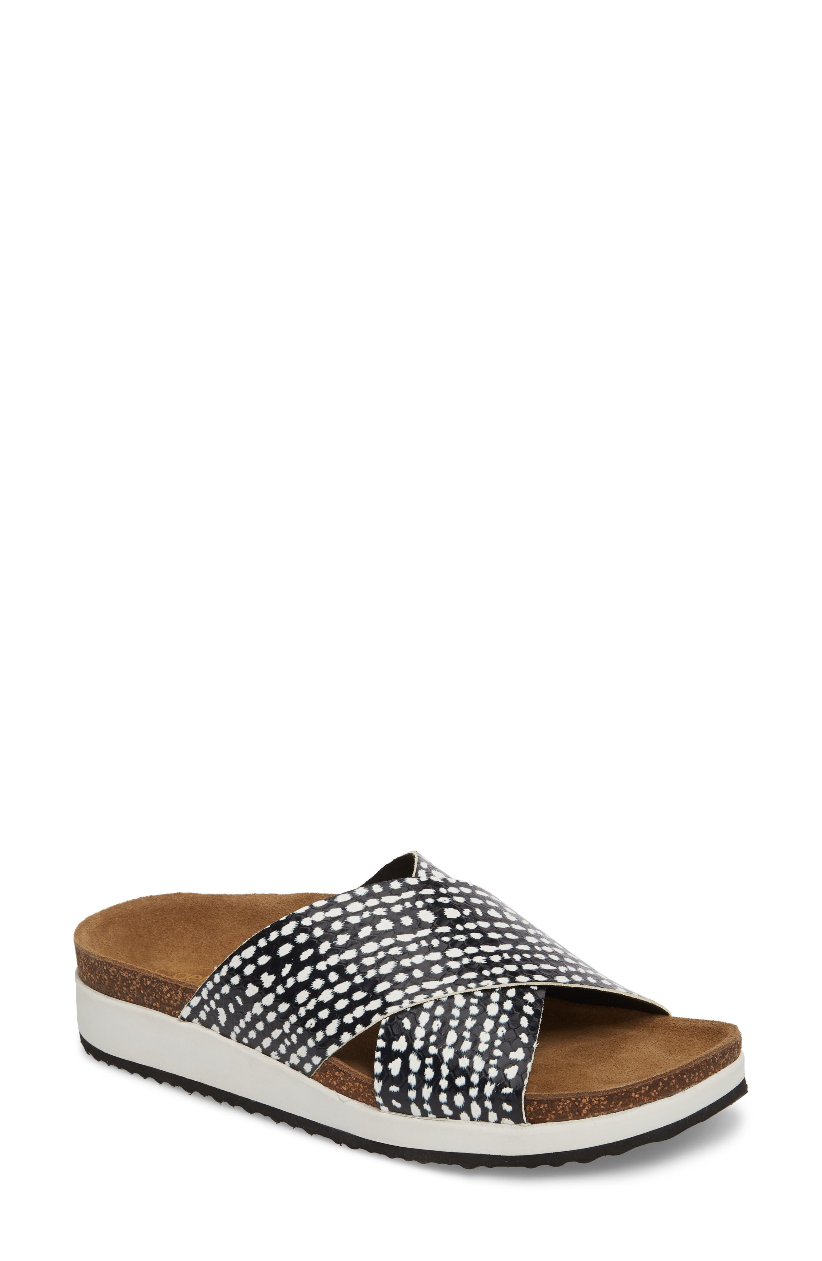 Dawn Slide Sandal,                         Main,                         color, Panda Print Leather