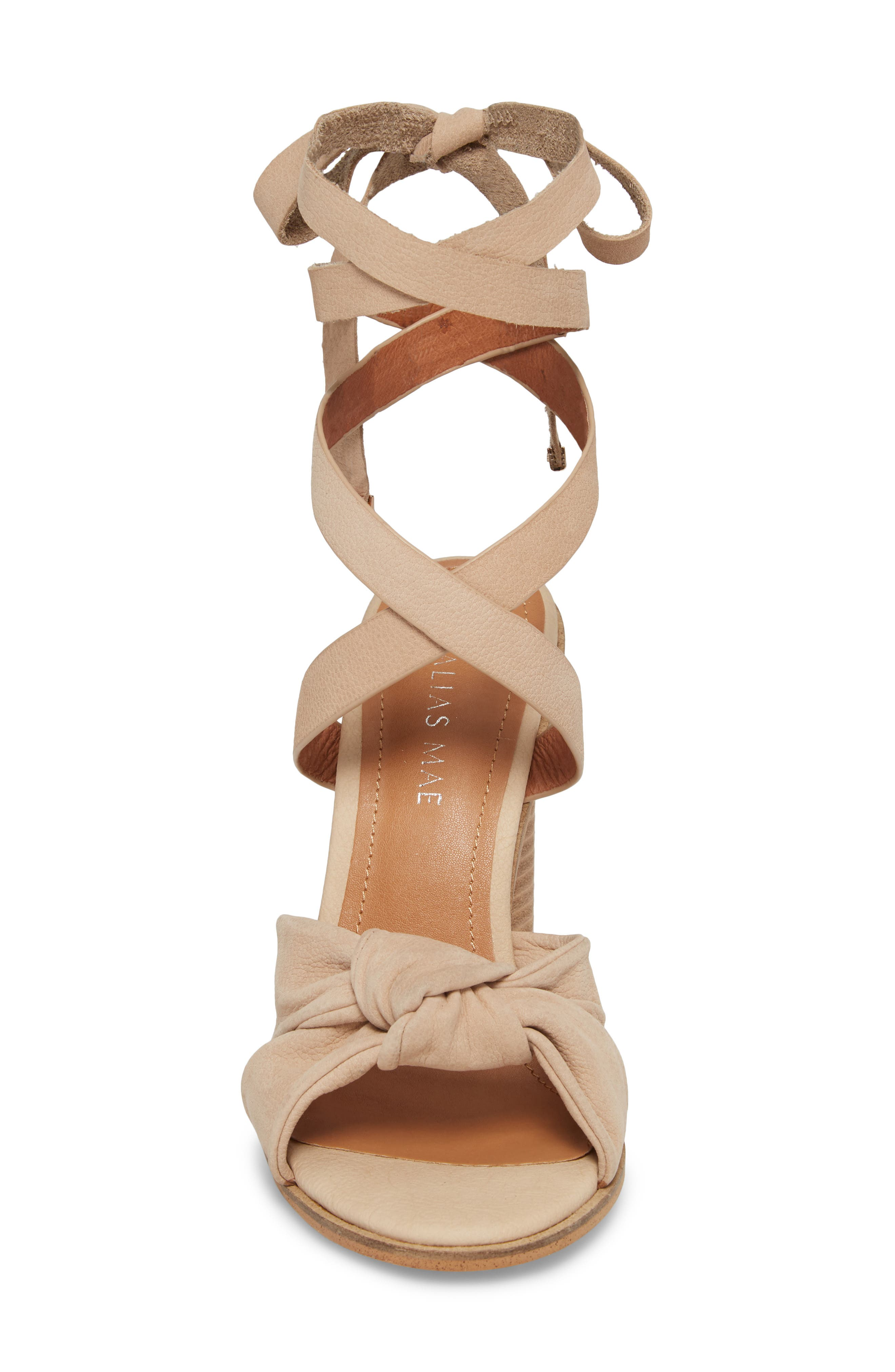 Africa Ankle Wrap Sandal,                             Alternate thumbnail 4, color,                             Natural Leather