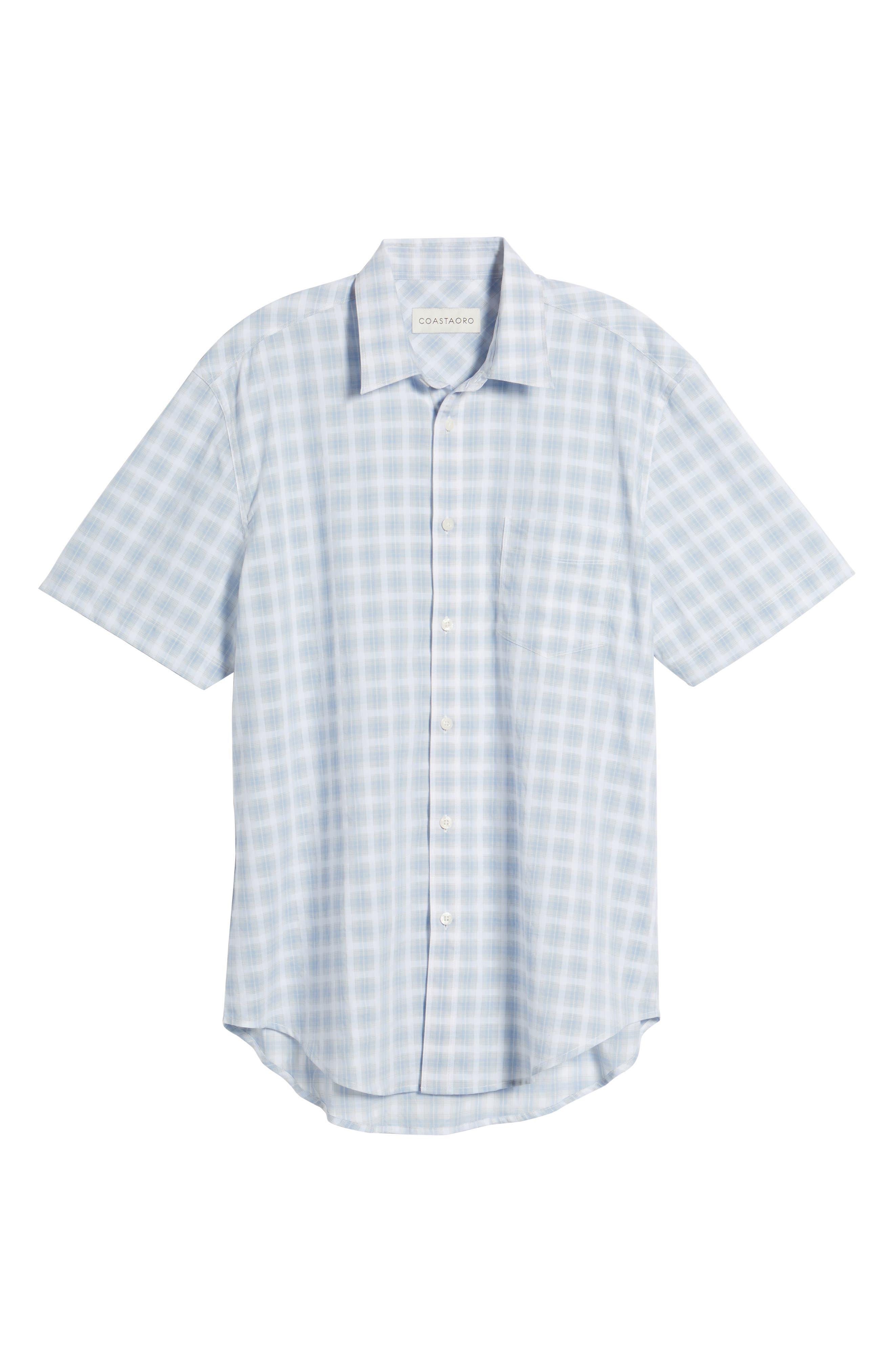 Ponto Regular Fit Check Sport Shirt,                             Alternate thumbnail 6, color,                             Sky
