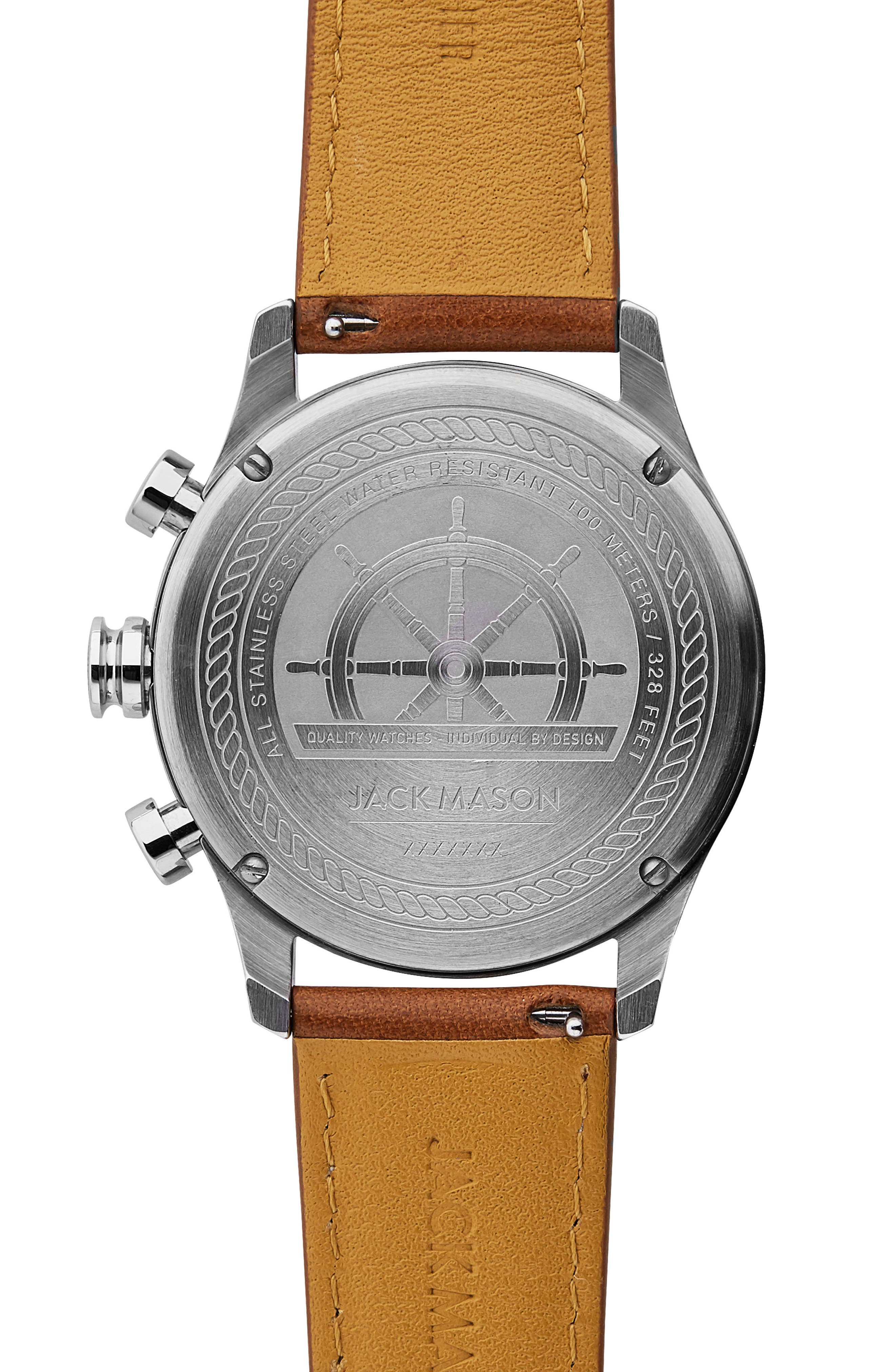 Nautical Chronograph Leather Strap Watch, 42mm,                             Alternate thumbnail 2, color,                             Multi/ Tan