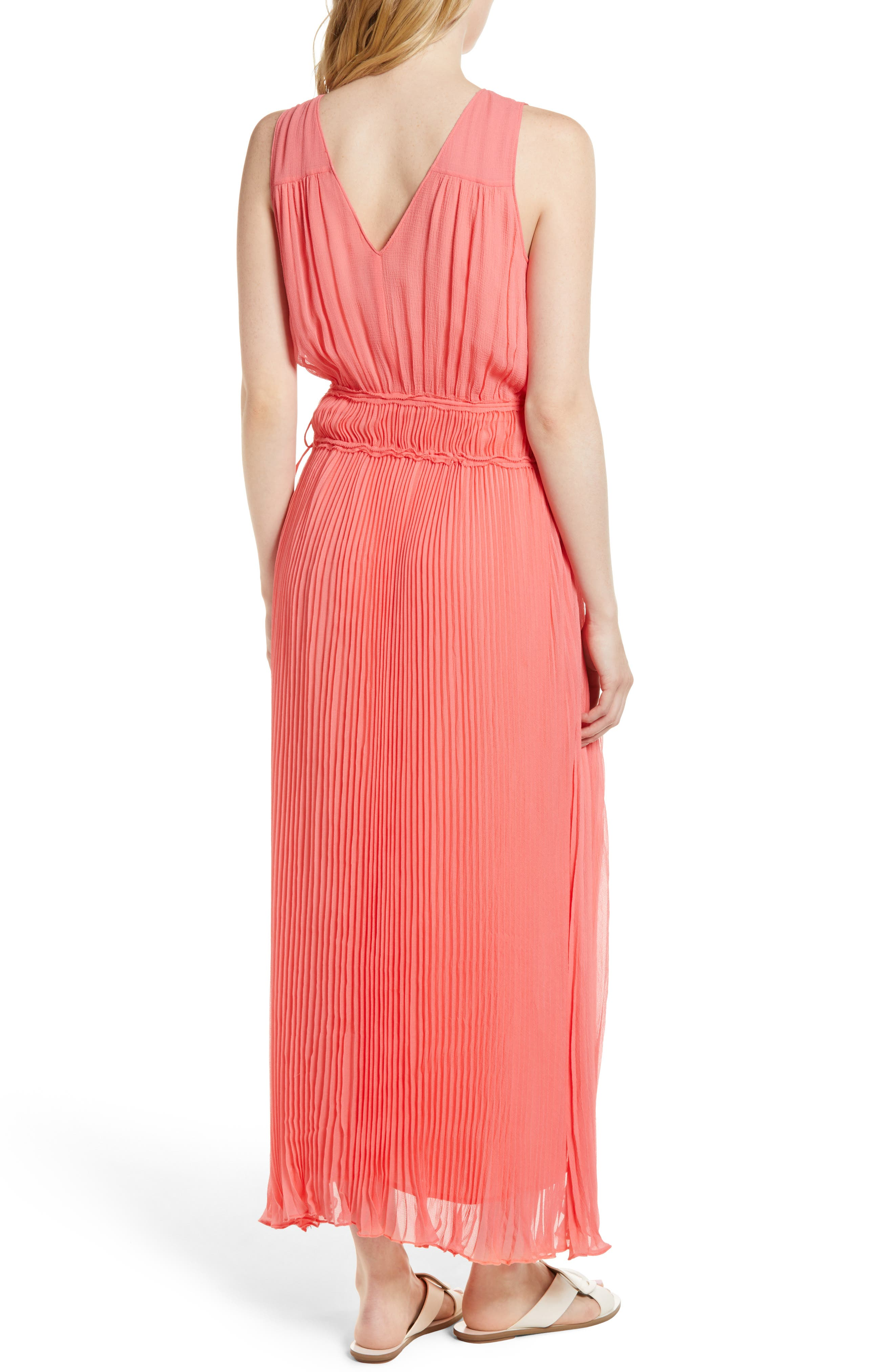 Pleated Crinkle Silk Maxi Dress,                             Alternate thumbnail 2, color,                             Coral Sugar