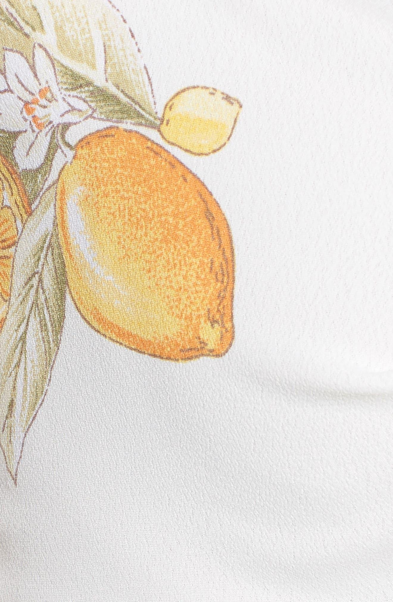 Lemonade Tie Front Crop Top,                             Alternate thumbnail 5, color,                             Lemon