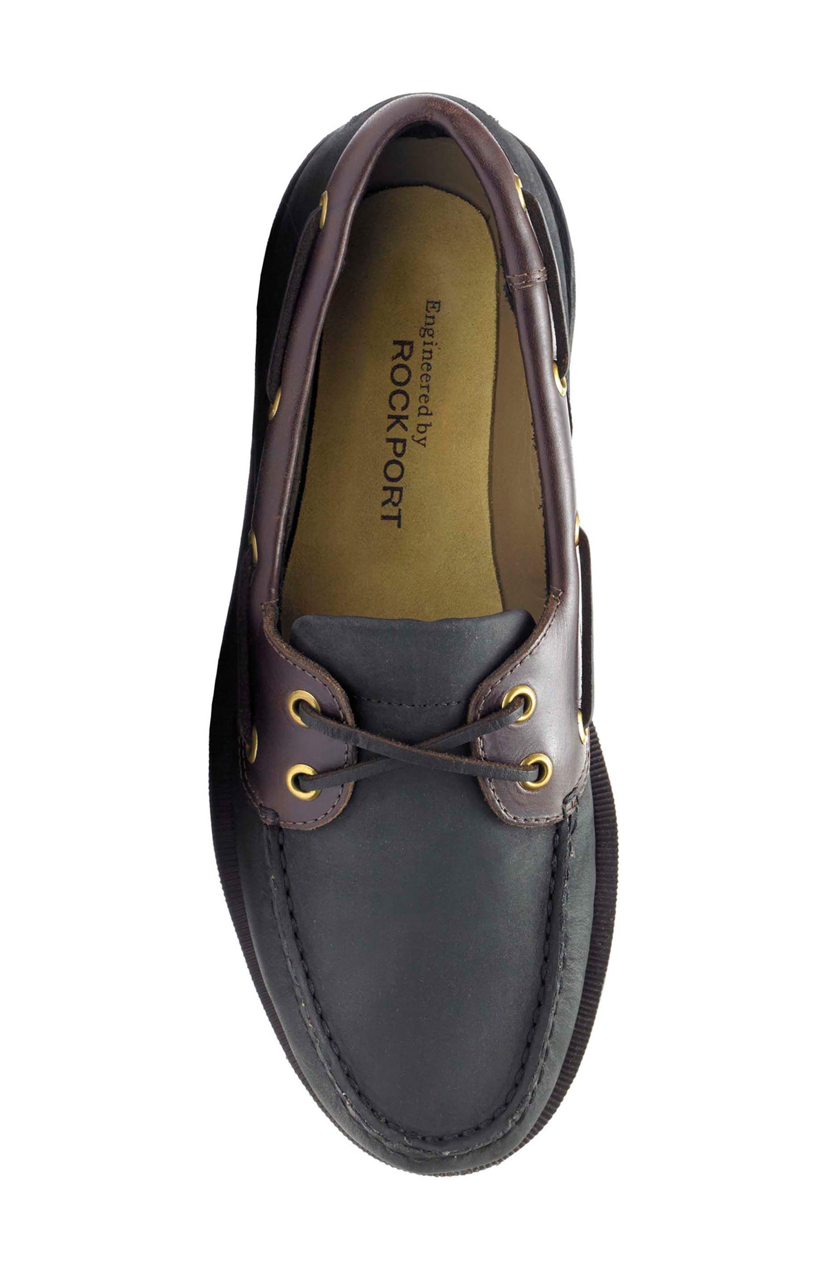 'Perth' Boat Shoe,                             Alternate thumbnail 5, color,                             Black/ Bark Leather