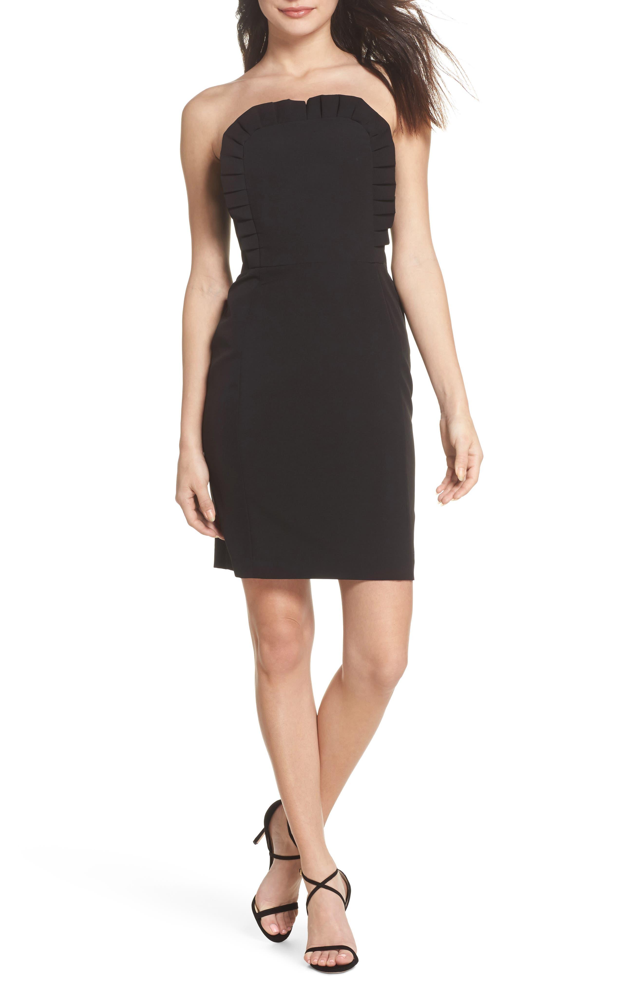 Ruffle Apron Detail Strapless Dress,                             Main thumbnail 1, color,                             Black