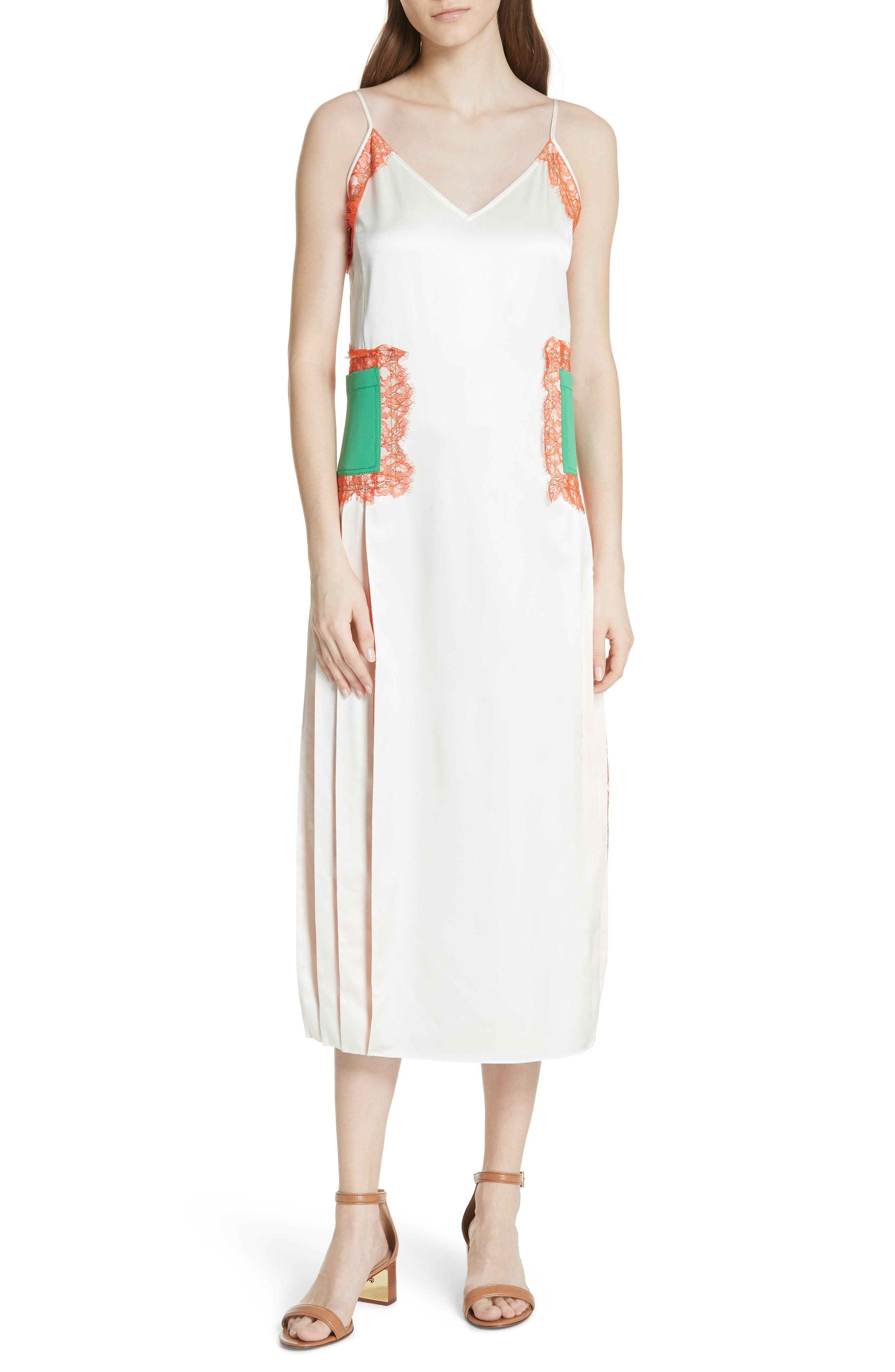 Claire Silk Midi Dress,                             Main thumbnail 1, color,                             New Ivory